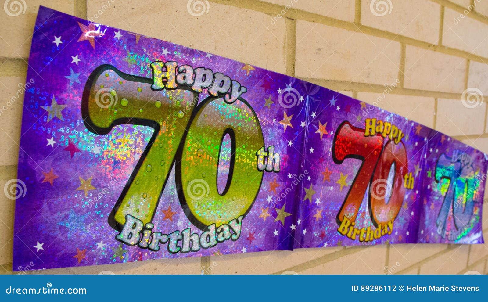 Ευτυχές 70ο έμβλημα γενεθλίων στον τοίχο