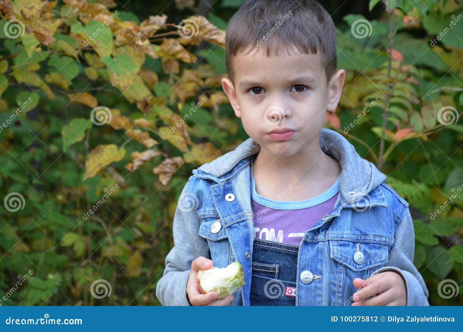 Ευτυχές παιδί που τρώει τα φρούτα ευτυχές χαριτωμένο αγόρι παιδιών που τρώει ένα μήλο σε ένα πάρκο φθινοπώρου