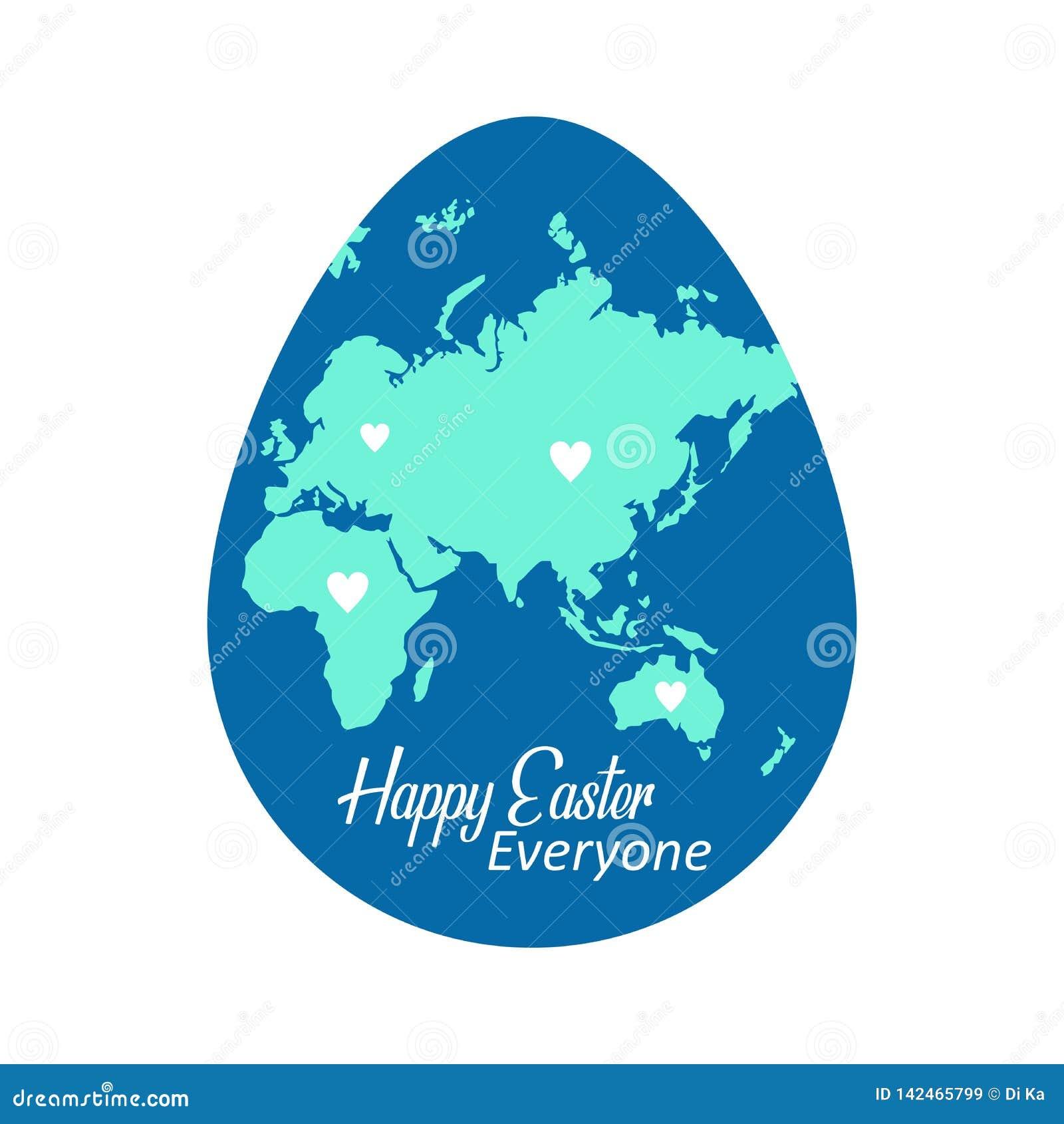 Ευτυχές σχέδιο χαιρετισμού Πάσχας στο σημάδι αυγών με το υπόβαθρο παγκόσμιων χαρτών