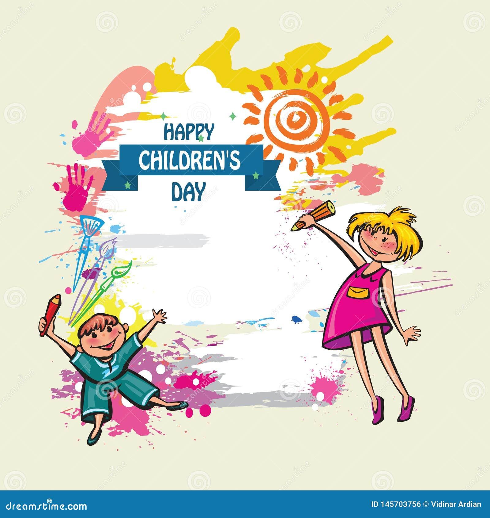 Ευτυχές υπόβαθρο ημέρας παιδιών Διανυσματική απεικόνιση της καθολικής αφίσας ημέρας παιδιών E E r o