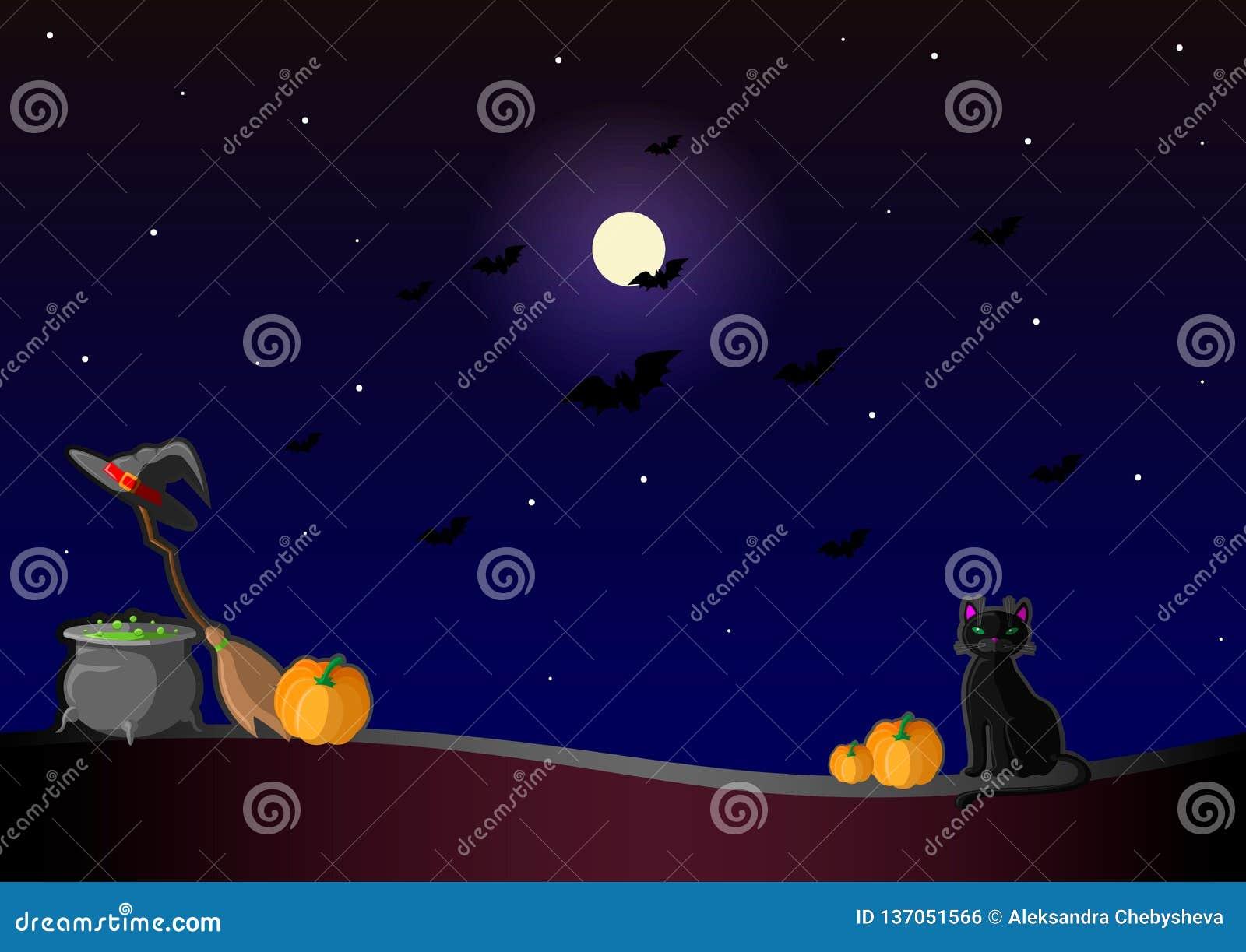 Ευτυχές Helloween Διανυσματική απεικόνιση με το καπέλο μαγισσών, την κολοκύθα, το δοχείο φίλτρων, τη μαύρη γάτα, το φεγγάρι, και