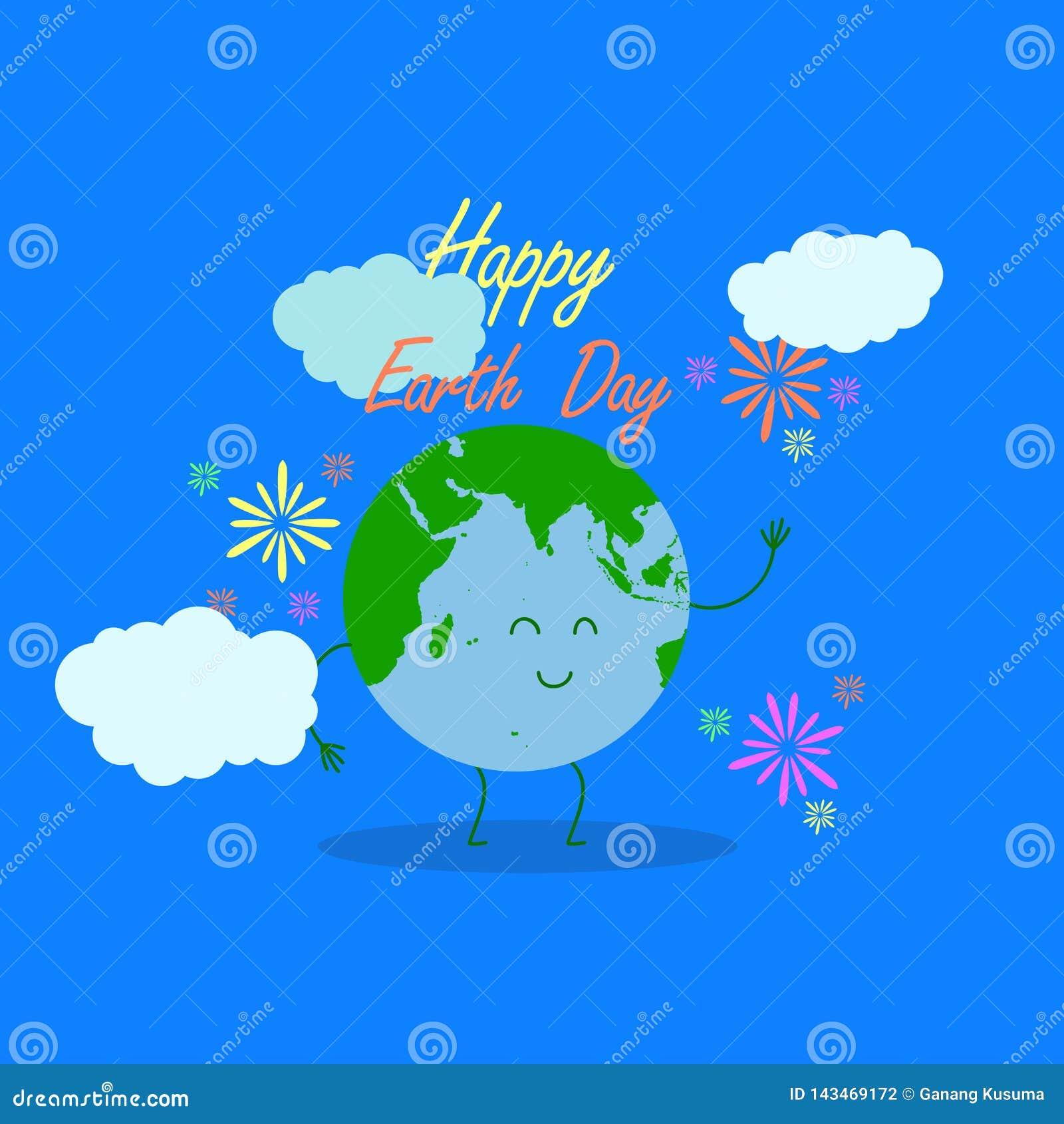 Ευτυχής απεικόνιση γήινης ημέρας με την ευτυχή τυπογραφία γήινης ημέρας, γήινος χαρακτήρας ως υπόβαθρο και να περιβάλει γραμμών α