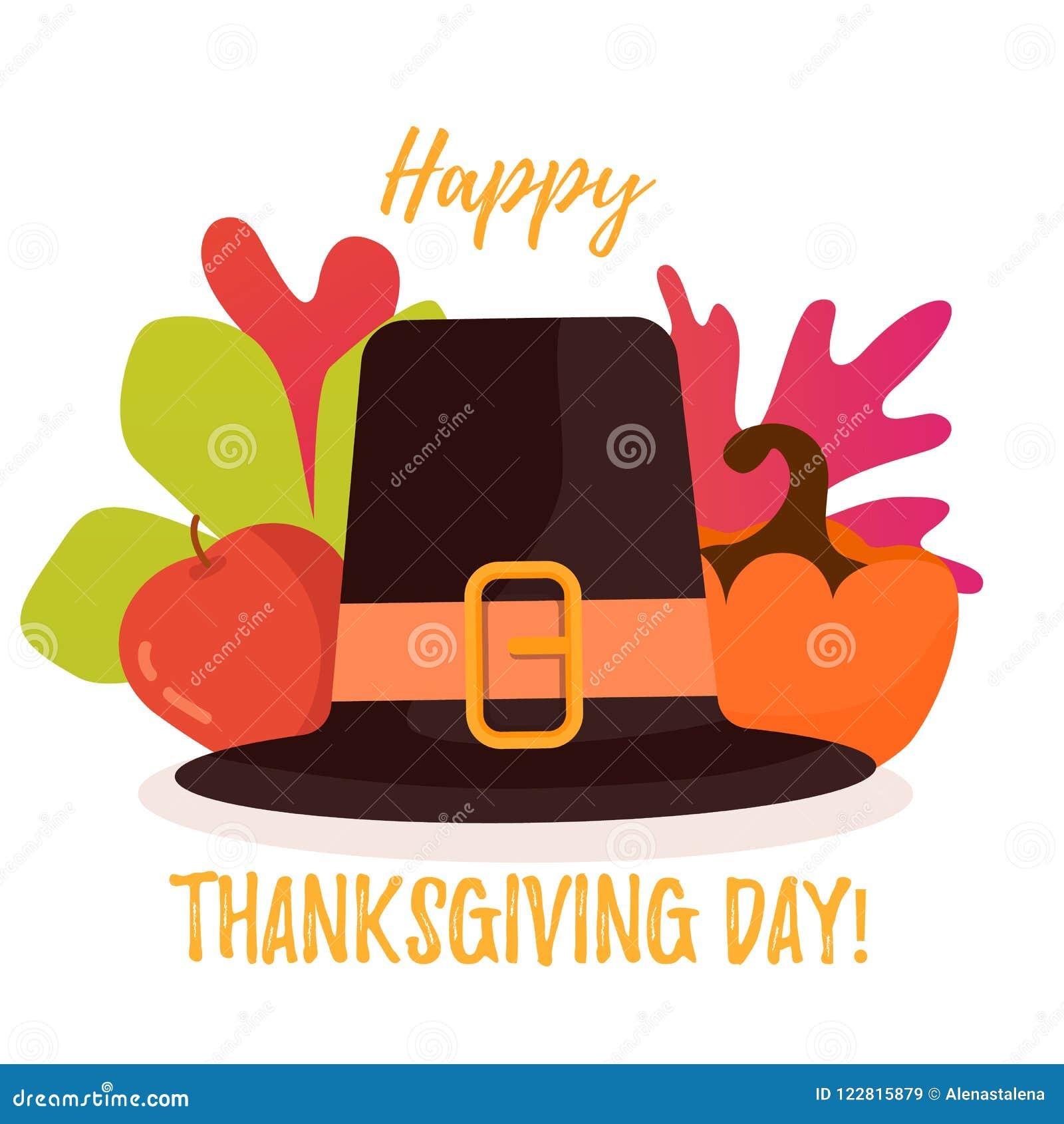 Ευτυχής αφίσα ημέρας των ευχαριστιών Φύλλα, μήλο και κολοκύθα φθινοπώρου πίσω από το καπέλο
