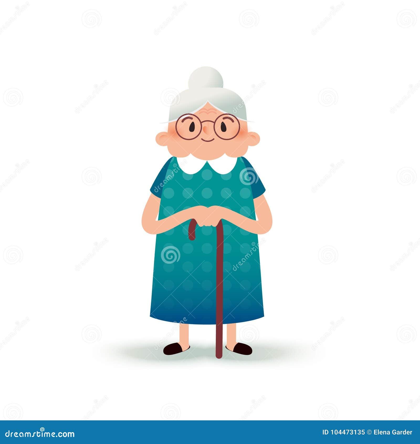 Ευτυχής γιαγιά κινούμενων σχεδίων με έναν κάλαμο ηλικιωμένη γυναίκα γυαλ&i Επίπεδη απεικόνιση στο άσπρο υπόβαθρο αστεία γιαγιά