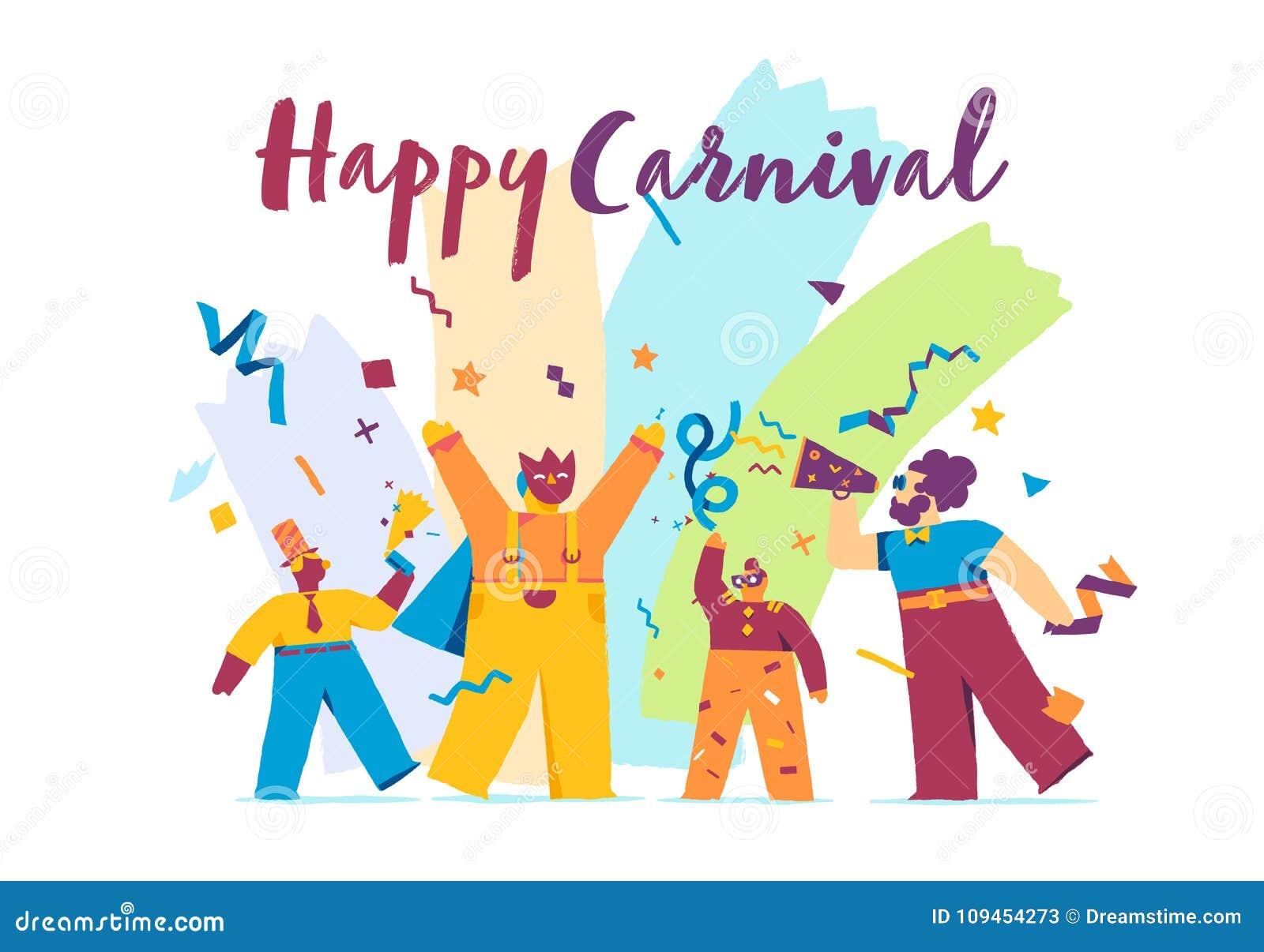 Ευτυχής εορταστική έννοια καρναβαλιού με την αστεία μάσκα χαρακτήρων