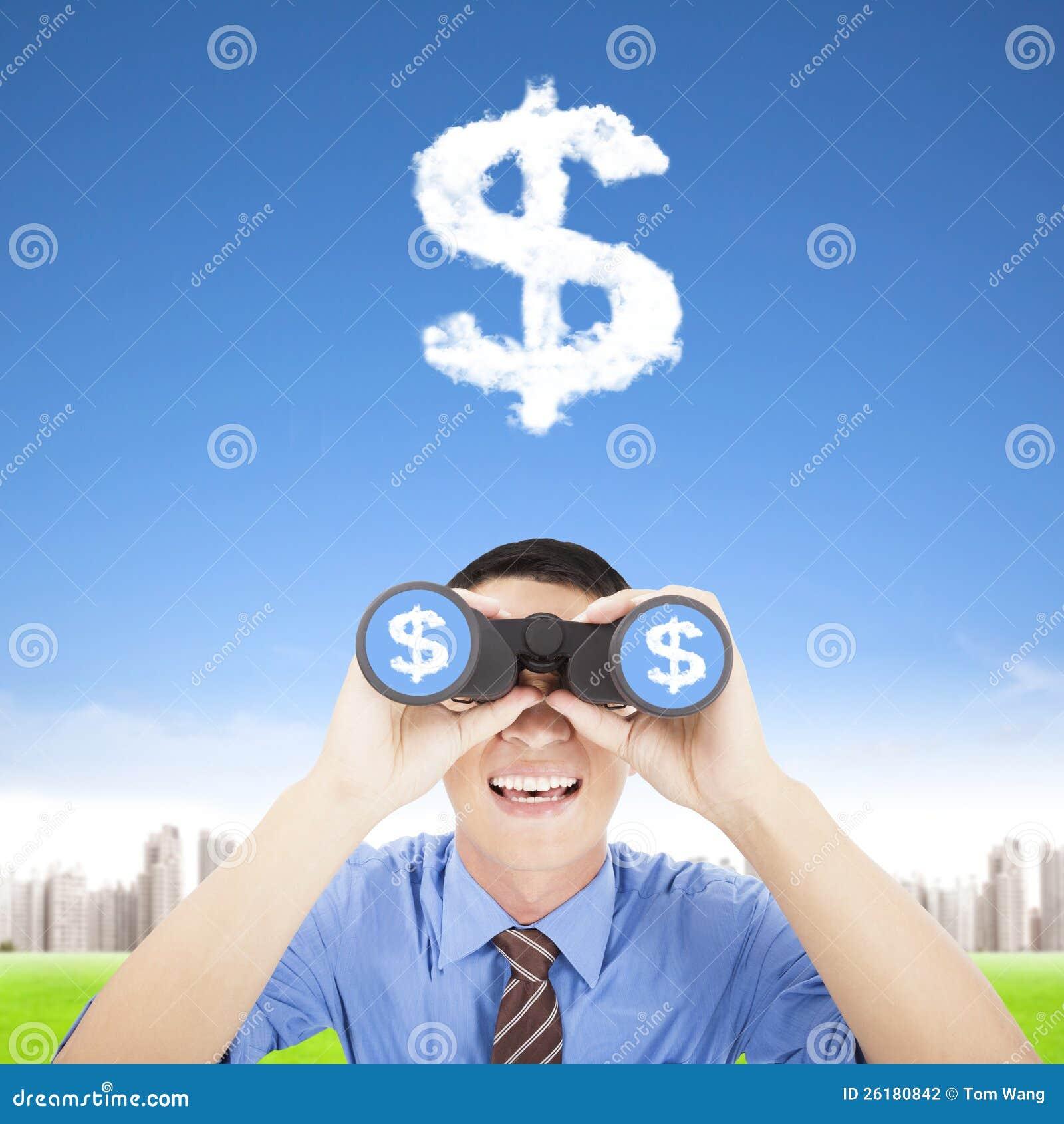 Ευτυχής επιχειρηματίας που προσέχει τα χρήματα