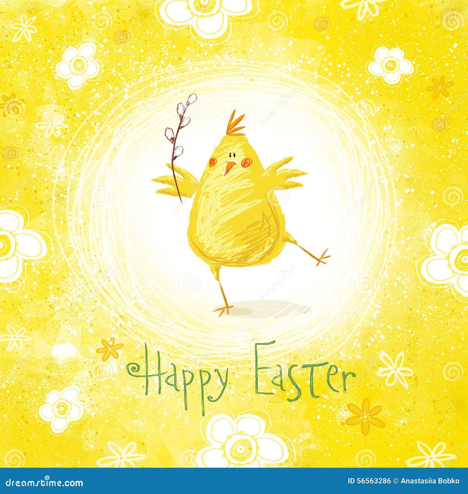 Download Ευτυχής ευχετήρια κάρτα Πάσχας Χαριτωμένο κοτόπουλο με το κείμενο στα μοντέρνα χρώματα Απεικόνιση αποθεμάτων - εικονογραφία από αναγέννηση, χρωματισμένος: 56563286