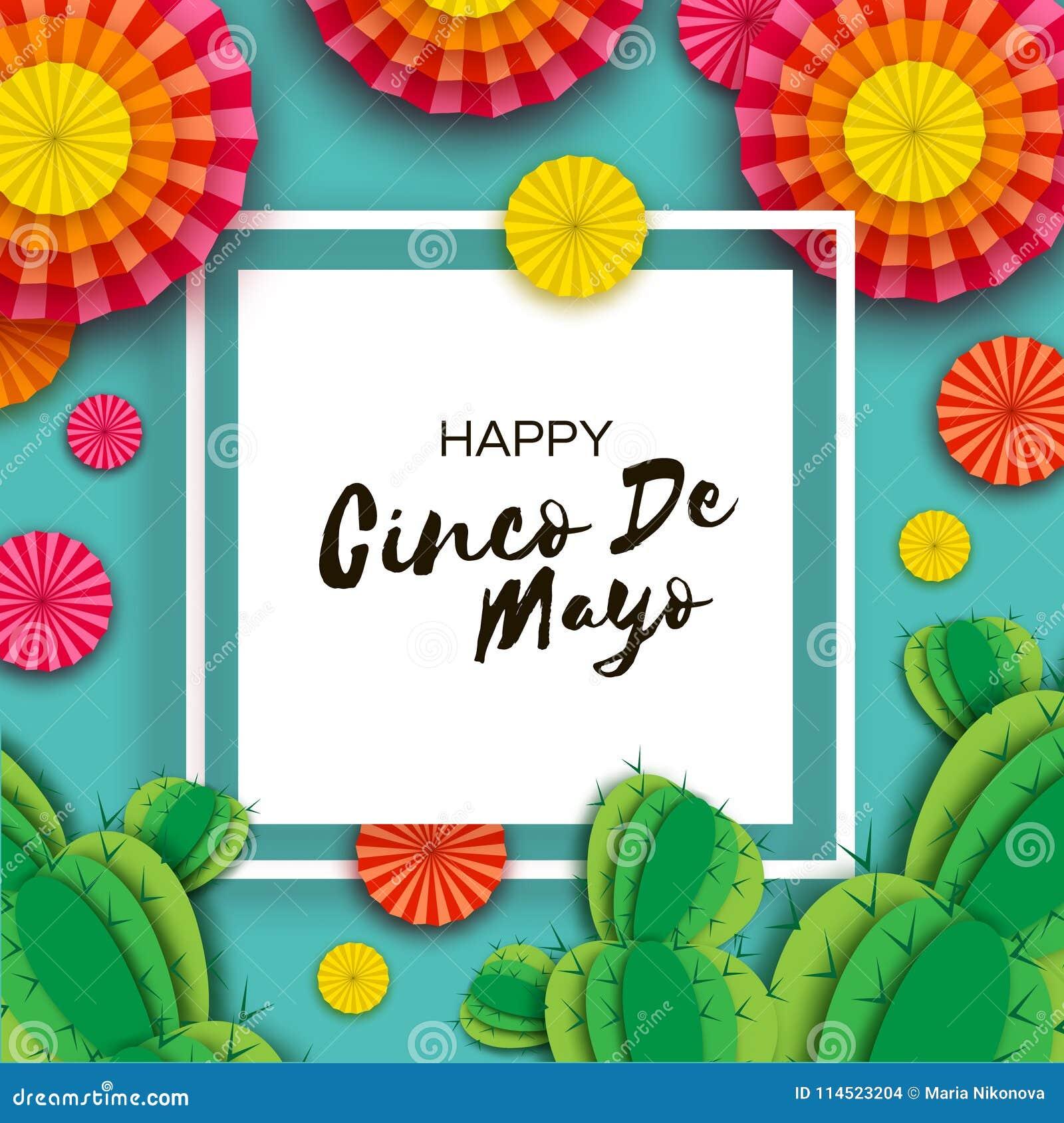 Ευτυχής ευχετήρια κάρτα Cinco de Mayo Ζωηρόχρωμοι πορτοκαλιοί ανεμιστήρας και κάκτος εγγράφου στο ύφος περικοπών εγγράφου Μεξικό,