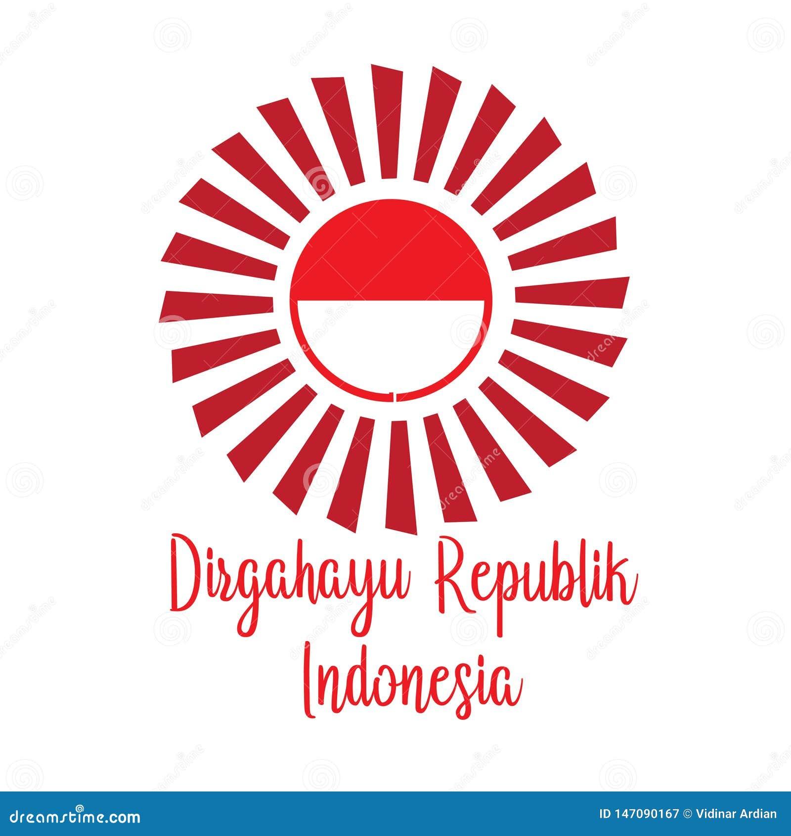 Ευτυχής ινδονησιακή μετάφραση ημέρας της ανεξαρτησίας Έμβλημα σημαιών της ινδονησιακής ευτυχούς ημέρας της ανεξαρτησίας o