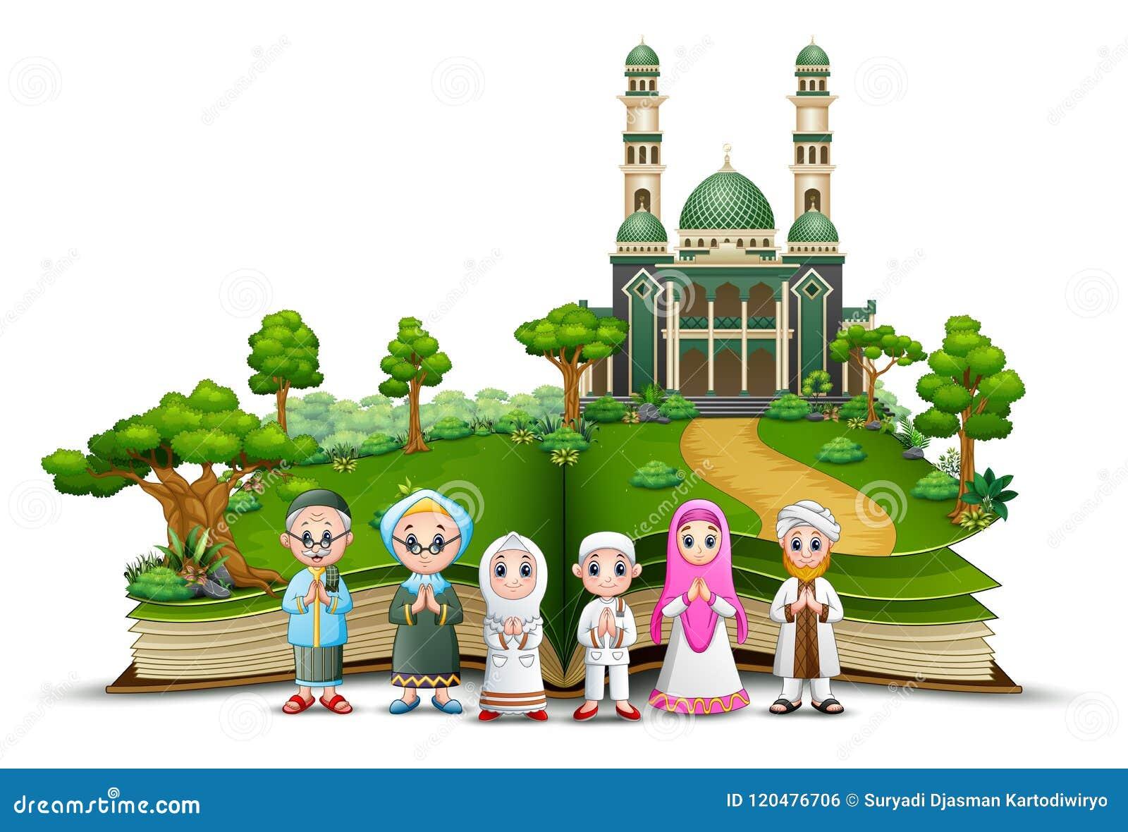 Ευτυχής μουσουλμανική οικογένεια στο μέτωπο το μουσουλμανικό τέμενος ενός ανοιγμένου βιβλίου