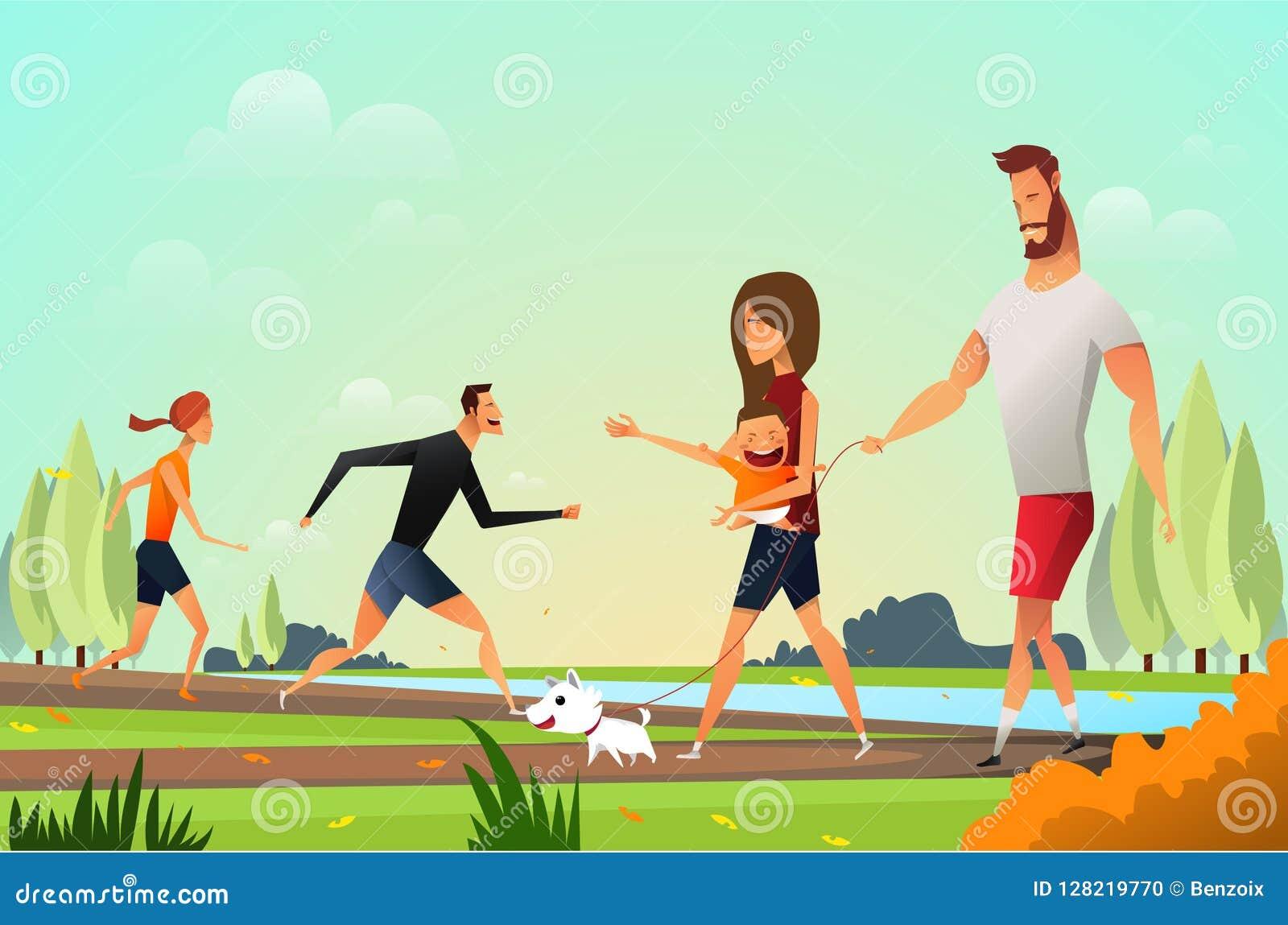 Ευτυχής νέα οικογένεια με ένα μικρό σκυλί στο πάρκο και το νέο περπάτημα ανθρώπων ζευγών Πατέρας και moter στο πάρκο υπαίθριος