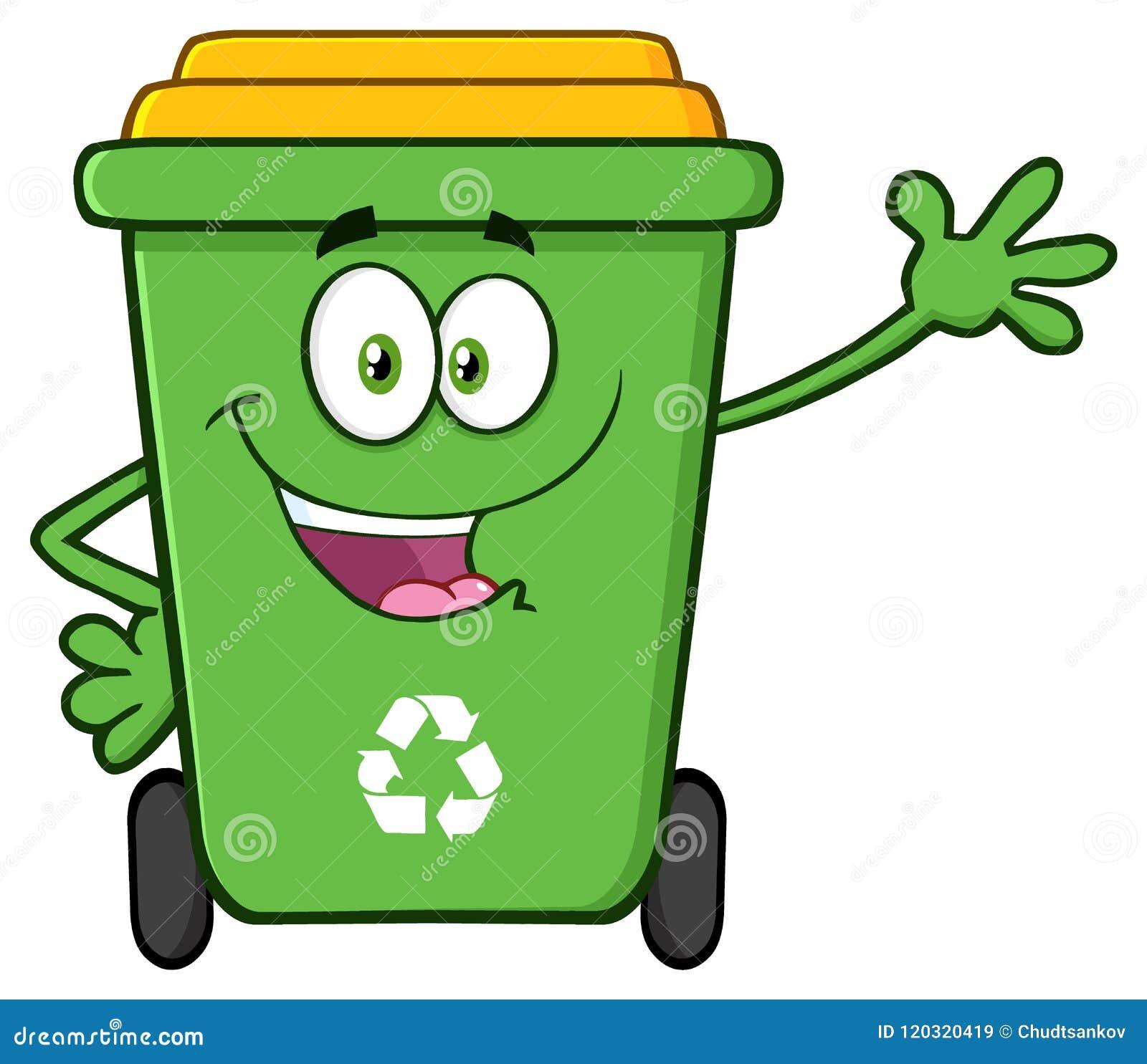 Ευτυχής πράσινος ανακύκλωσης χαρακτήρας μασκότ κινούμενων σχεδίων δοχείων που κυματίζει για το χαιρετισμό