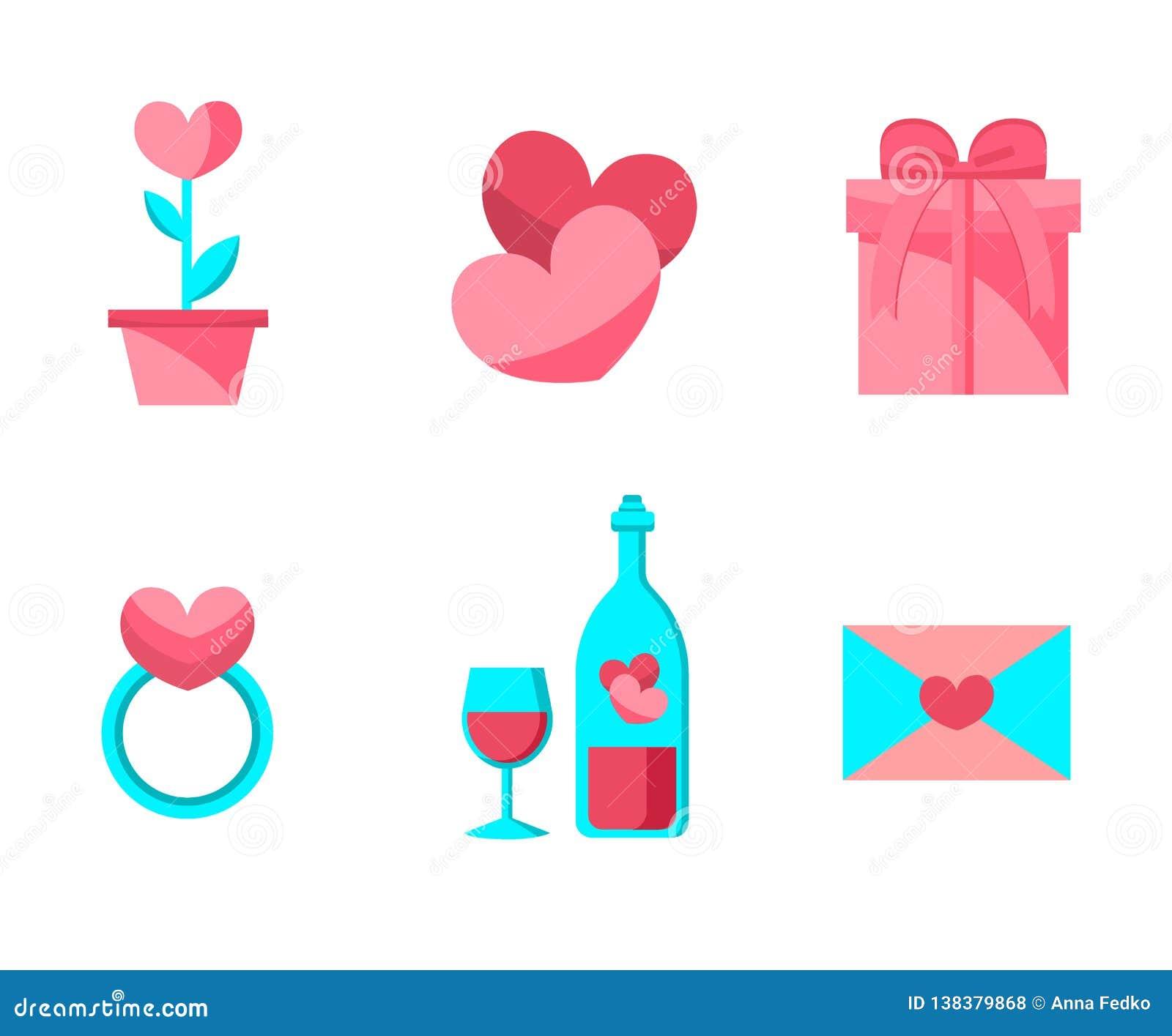 Ευτυχή αντικείμενα ημέρας βαλεντίνων καθορισμένα Επίπεδο σχέδιο Συλλογή των γαμήλιων στοιχείων αγάπης