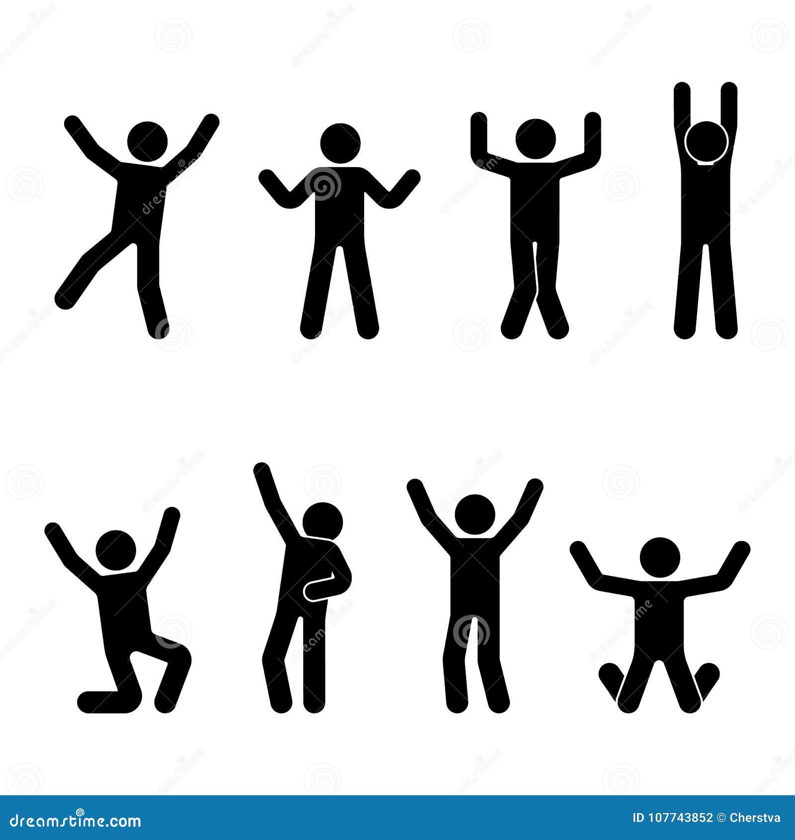 Ευτυχία αριθμού ραβδιών, ελευθερία, άλμα, σύνολο κινήσεων Η διανυσματική απεικόνιση του εορτασμού θέτει το εικονόγραμμα