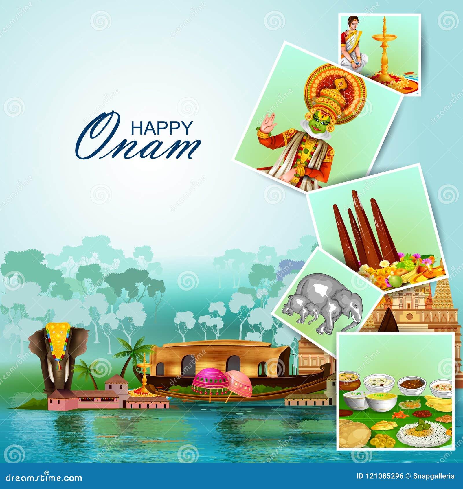 Ευτυχείς διακοπές Onam για το υπόβαθρο φεστιβάλ της νότιας Ινδίας