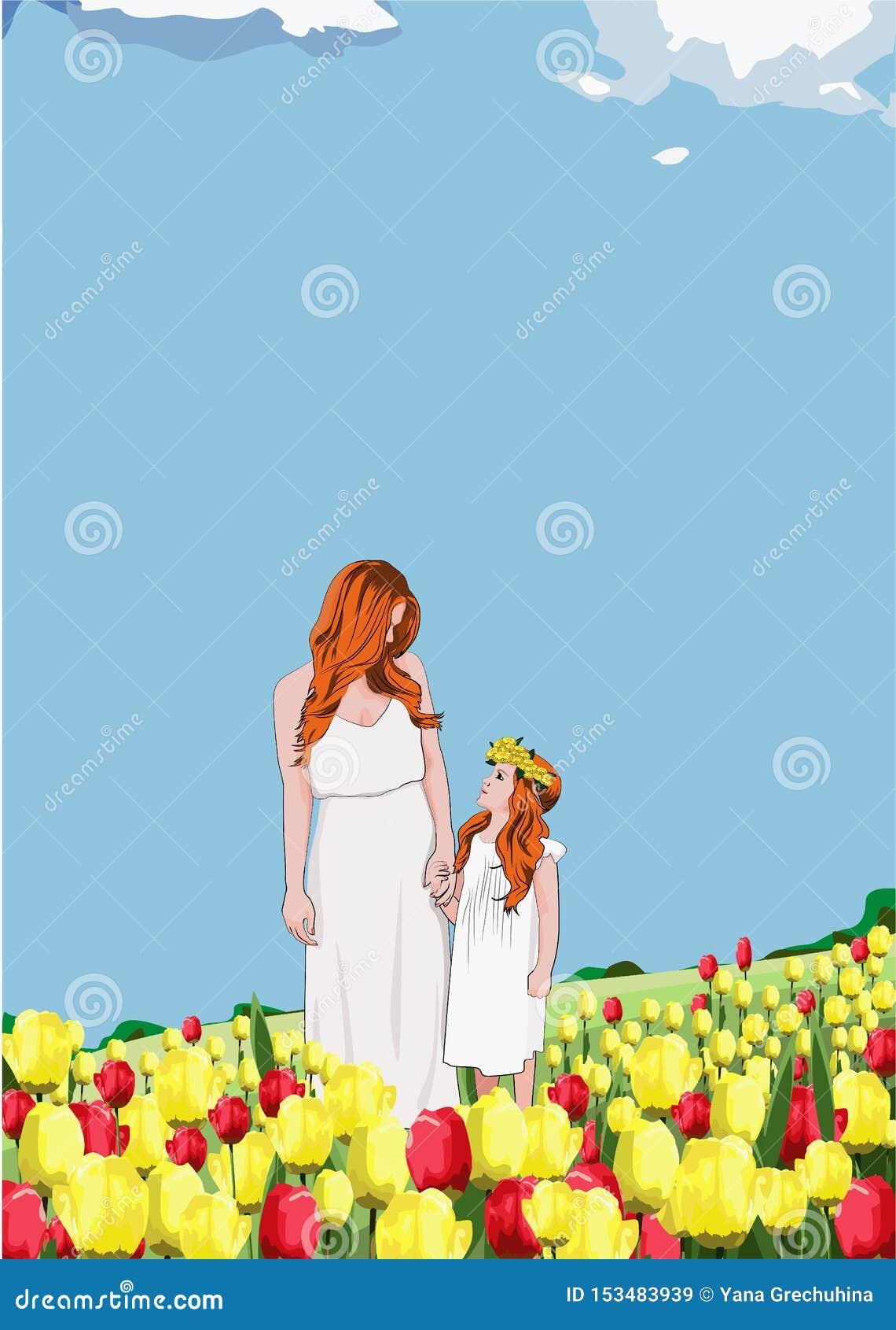 Ευτυχείς μητέρα και κόρη σε ένα απόγευμα άνοιξη μεταξύ ενός τομέα των τουλιπών