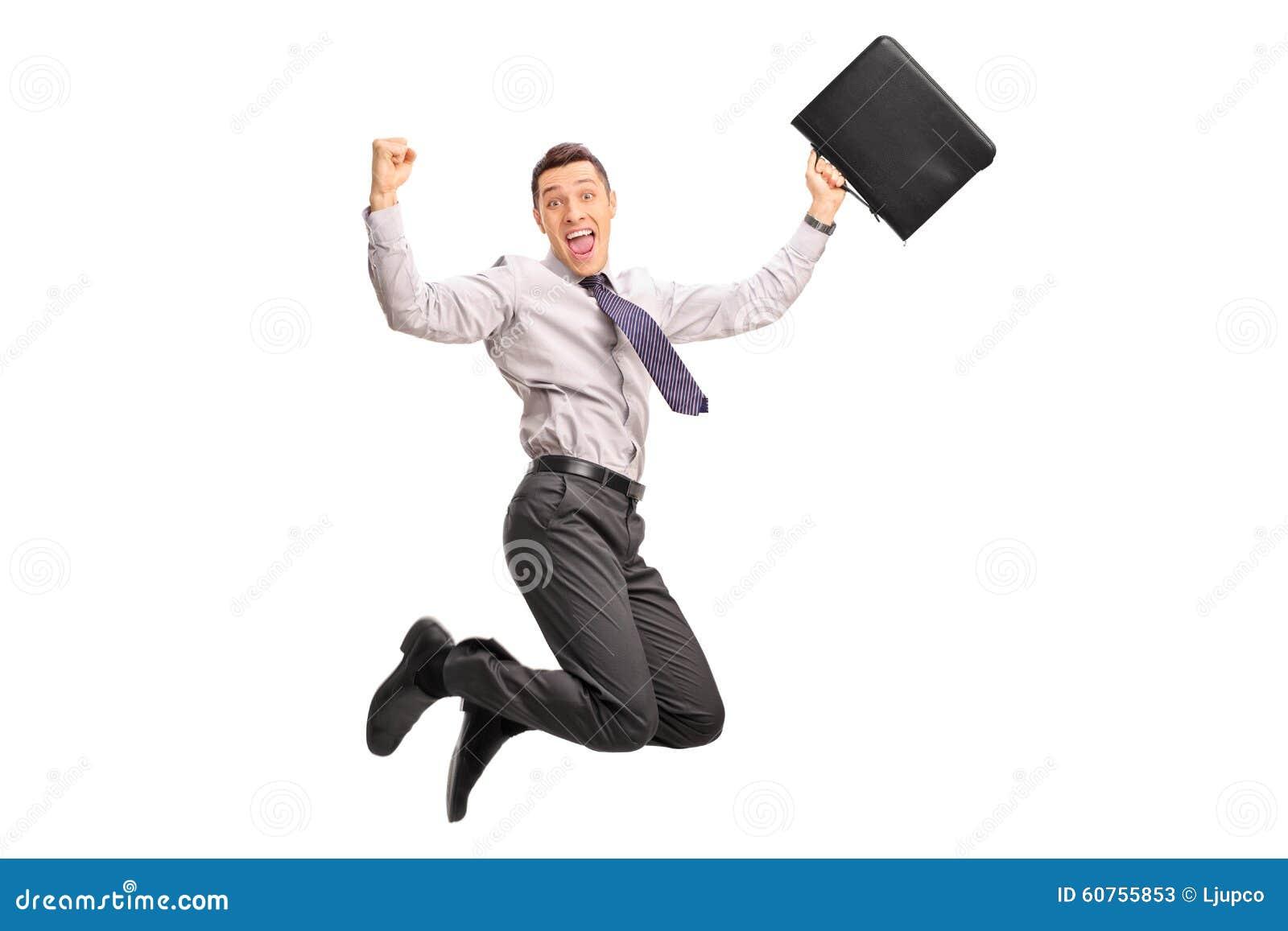 Ευχαριστημένος επιχειρηματίας που πηδά από τη χαρά