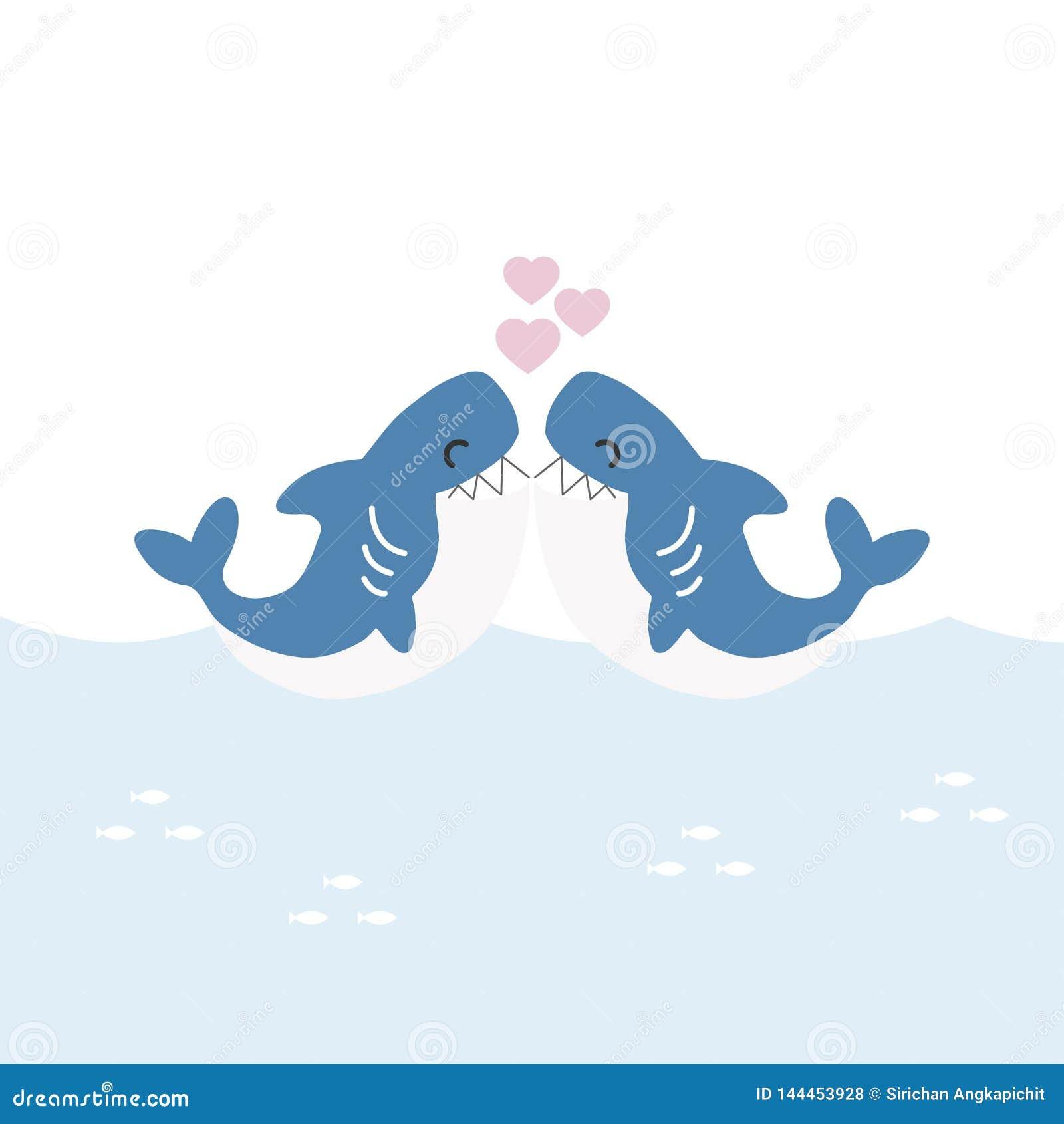 Ευχετήρια κάρτα βαλεντίνων Χαριτωμένοι καρχαρίες με την καρδιά