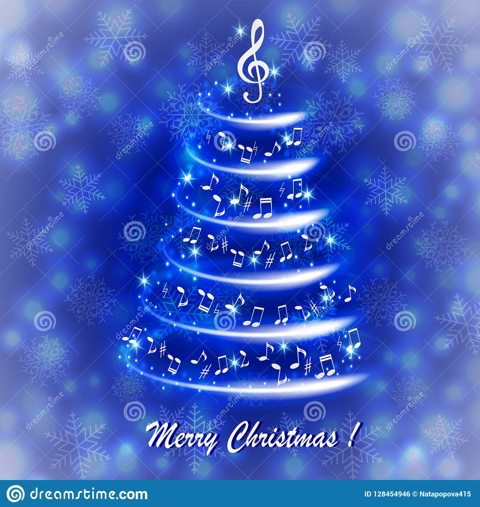 Ευχετήρια κάρτα με ένα αφηρημένο μουσικό χριστουγεννιάτικο δέντρο, με τις σημειώσεις και το τριπλό clef
