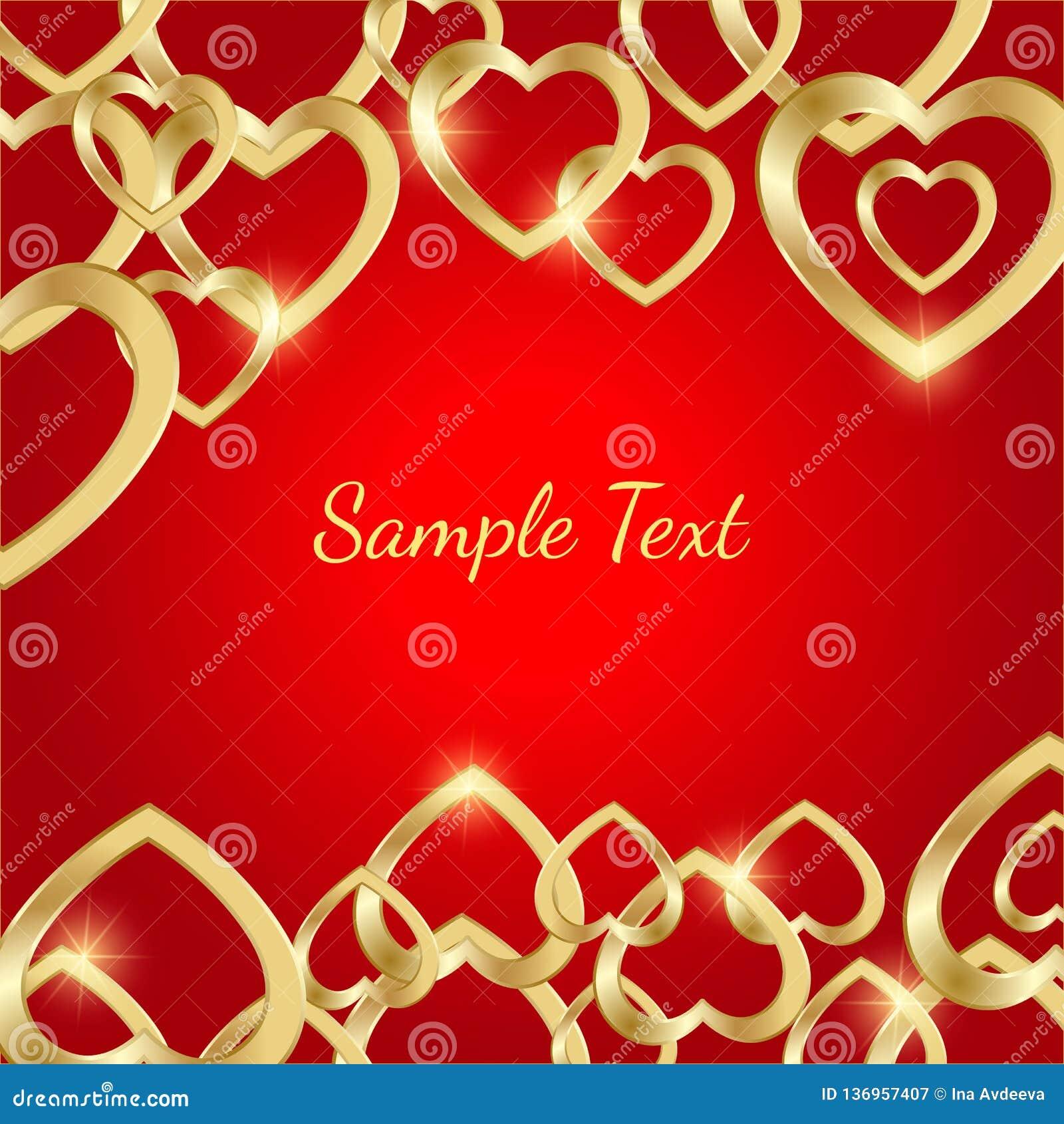 Ευχετήρια κάρτα με τις χρυσές καρδιές σε ένα φωτεινό κόκκινο υπόβαθρο