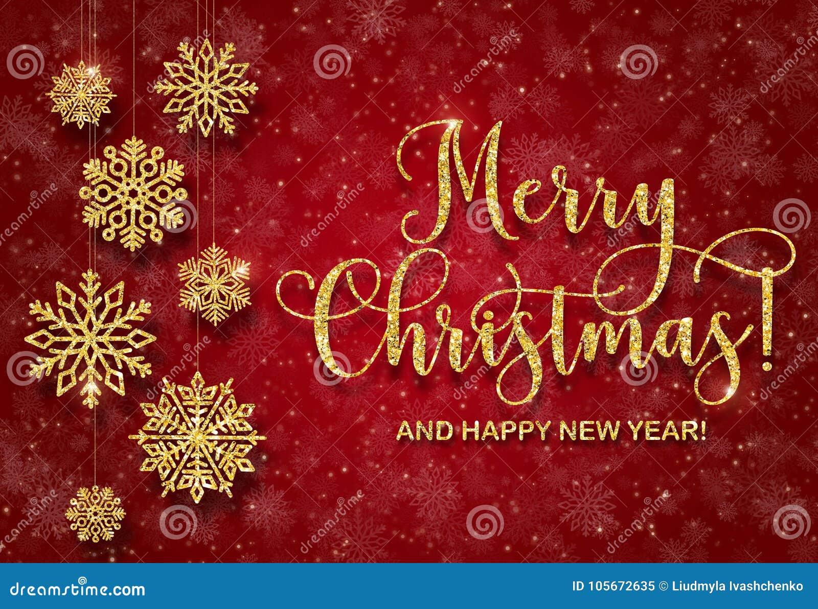 Ευχετήρια κάρτα με το χρυσό κείμενο σε ένα κόκκινο υπόβαθρο Ακτινοβολήστε Χαρούμενα Χριστούγεννα και καλή χρονιά