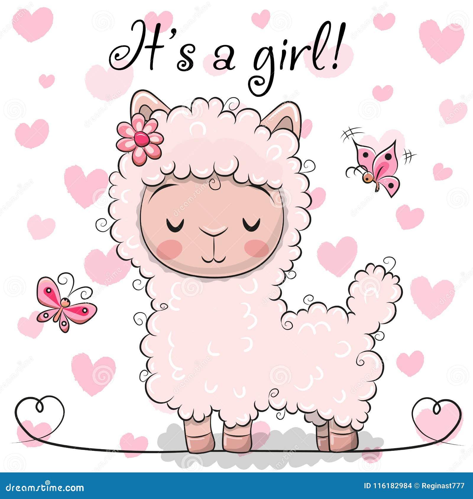 Ευχετήρια κάρτα ντους μωρών με το κορίτσι προβατοκαμήλου