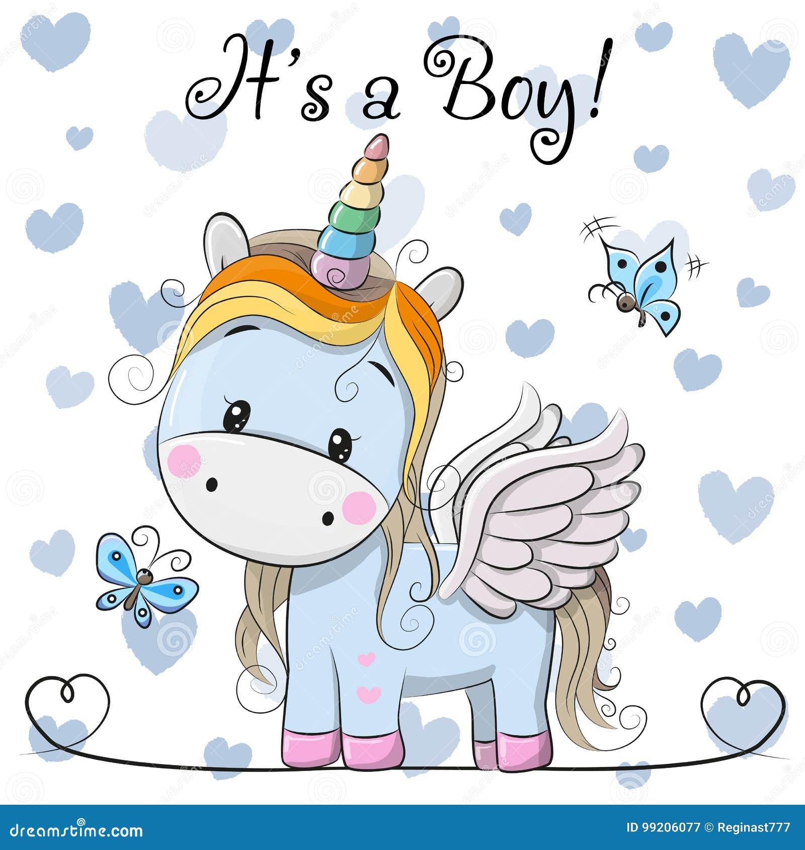 Ευχετήρια κάρτα ντους μωρών με το χαριτωμένο αγόρι μονοκέρων