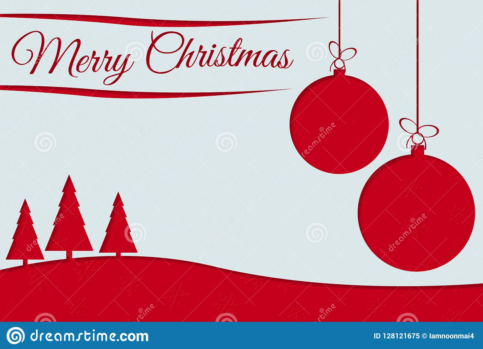 Ευχετήρια κάρτα Χαρούμενα Χριστούγεννας με το κόκκινο κείμενο, τις σφαίρες Χριστουγέννων και το πεύκο