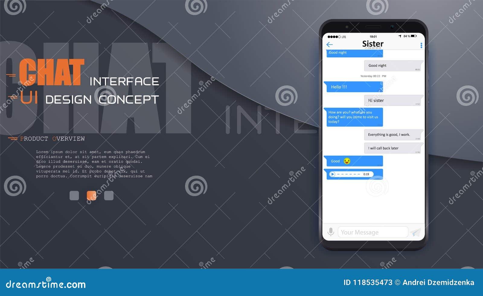 Εφαρμογή διεπαφών συνομιλίας με το παράθυρο διαλόγου Καθαρή κινητή έννοια σχεδίου UI Αγγελιοφόρος Sms Επίπεδα εικονίδια Ιστού