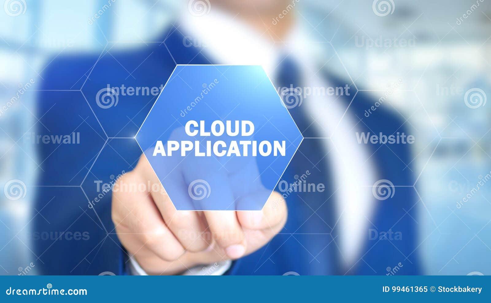 Εφαρμογή σύννεφων, άτομο που λειτουργεί στην ολογραφική διεπαφή, οπτική οθόνη