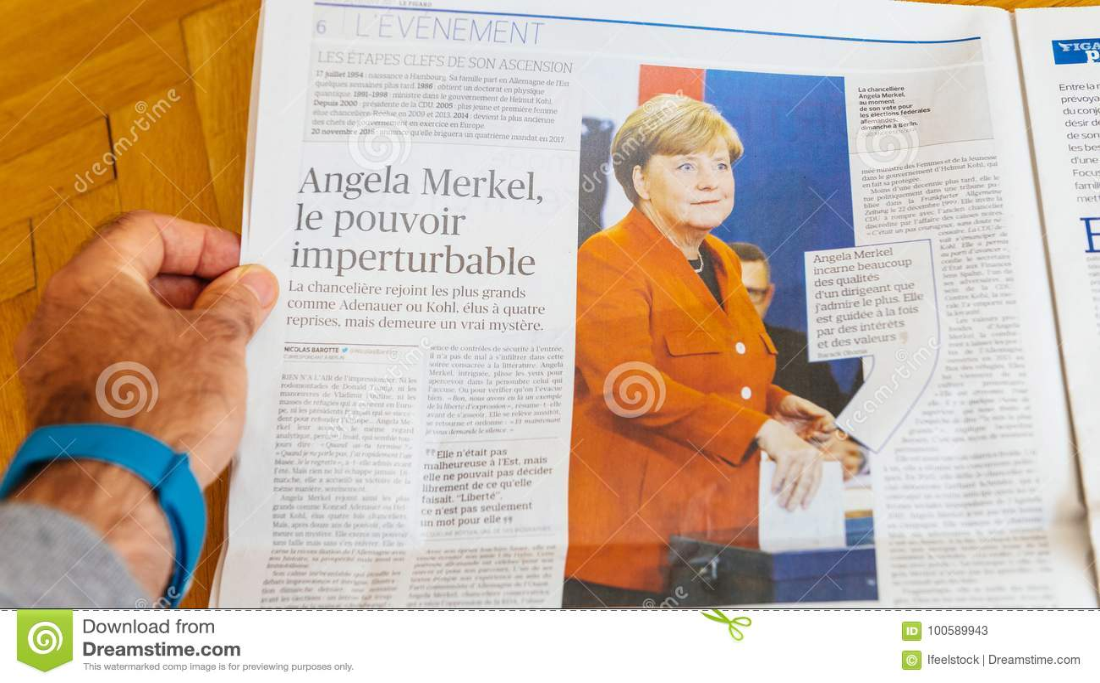 Εφημερίδα LE Φίγκαρο που υποβάλλει έκθεση για την εκλογή της Άνγκελα Μέρκελ στη Γερμανία