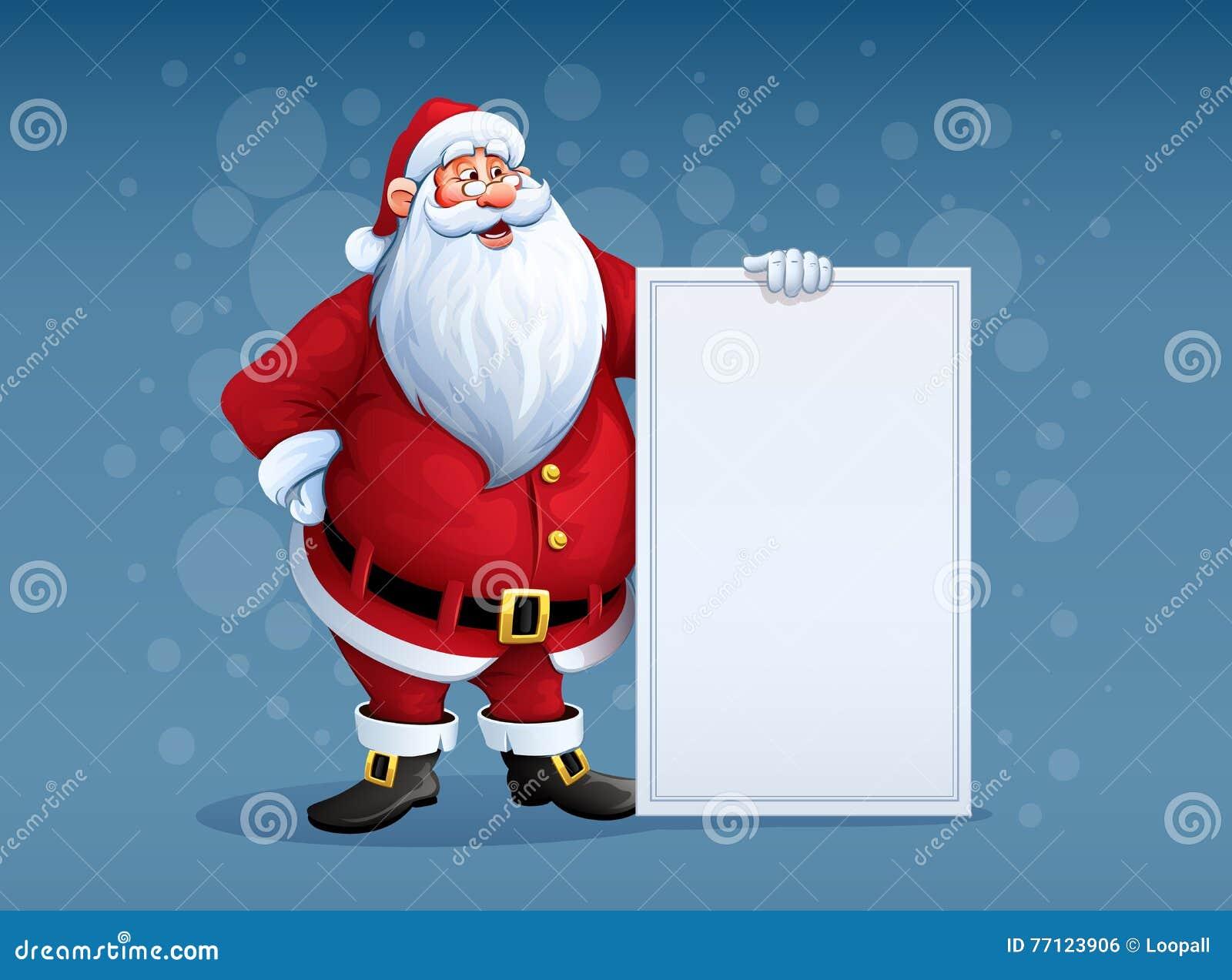 Εύθυμος Άγιος Βασίλης που στέκεται με το έμβλημα χαιρετισμών Χριστουγέννων στο βραχίονα