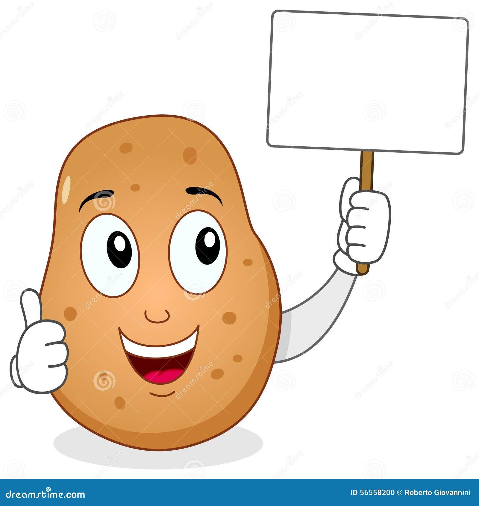 Download Εύθυμος χαρακτήρας πατατών & κενό έμβλημα Διανυσματική απεικόνιση - εικονογραφία από κενός, ήπια: 56558200