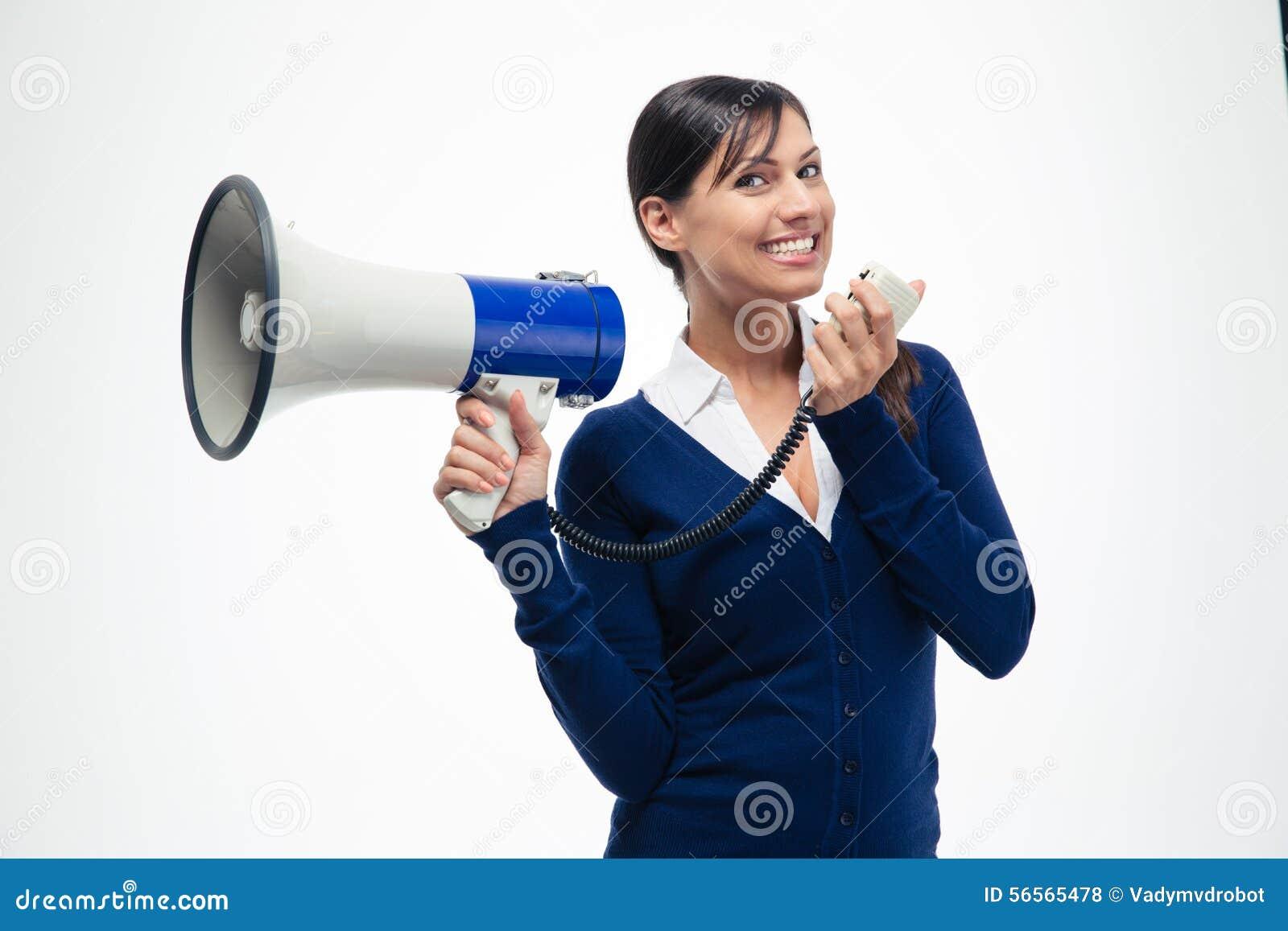 Download Εύθυμο Megaphone εκμετάλλευσης επιχειρηματιών Στοκ Εικόνες - εικόνα από κυρία, επικοινωνήστε: 56565478