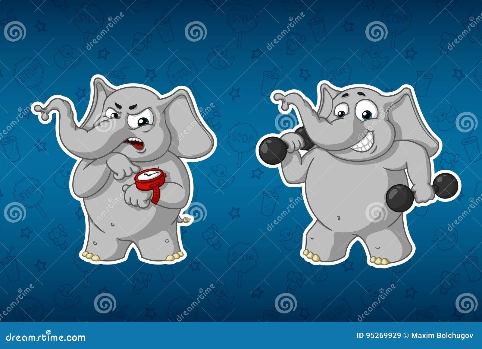 Ελέφαντες αυτοκόλλητων ετικεττών Αθλητισμός, αλτήρες στα χέρια, ικανότητα training εκπαιδευτής χιούμορ Μεγάλο σύνολο αυτοκόλλητων