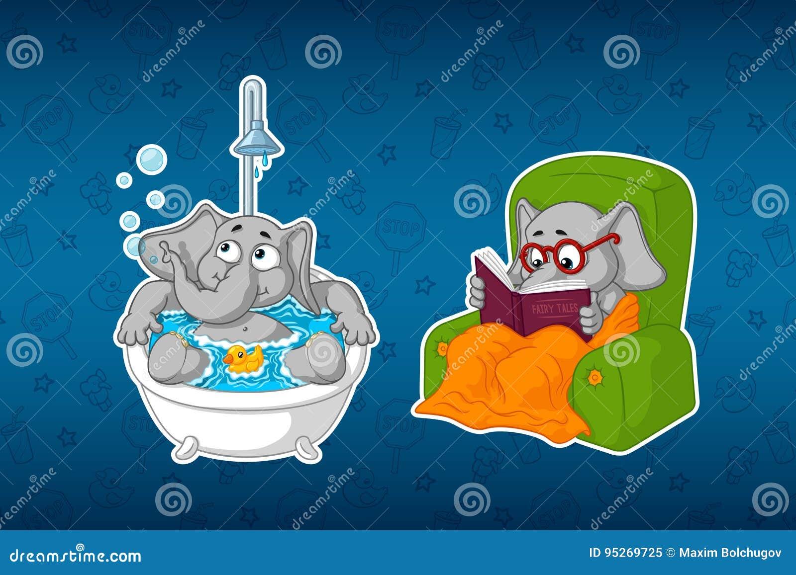 Ελέφαντες αυτοκόλλητων ετικεττών Στο λουτρό Διαδικασίες νερού Κάθεται σε μια ανάγνωση καρεκλών