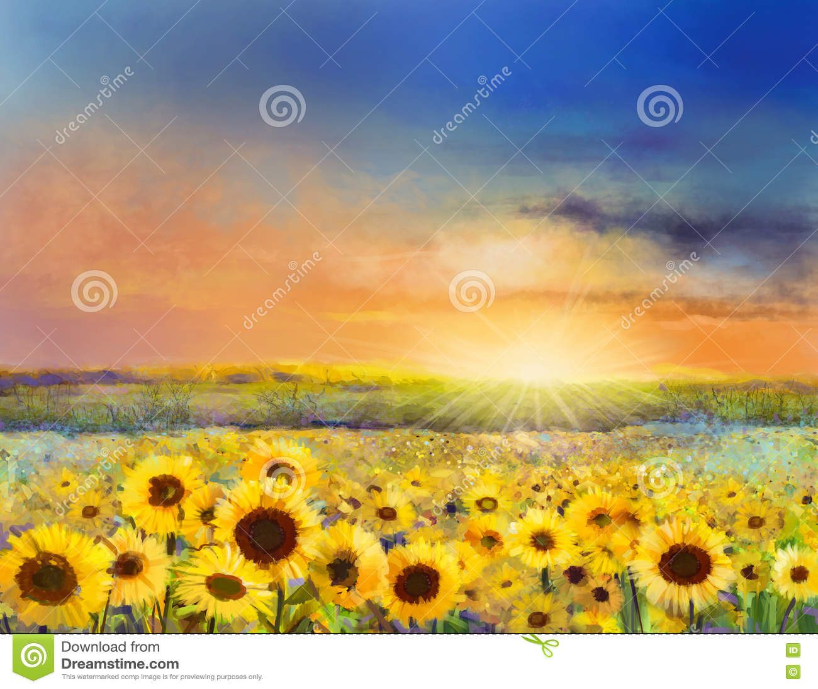 Ελαιογραφία ενός αγροτικού τοπίου ηλιοβασιλέματος με έναν χρυσό ηλίανθο