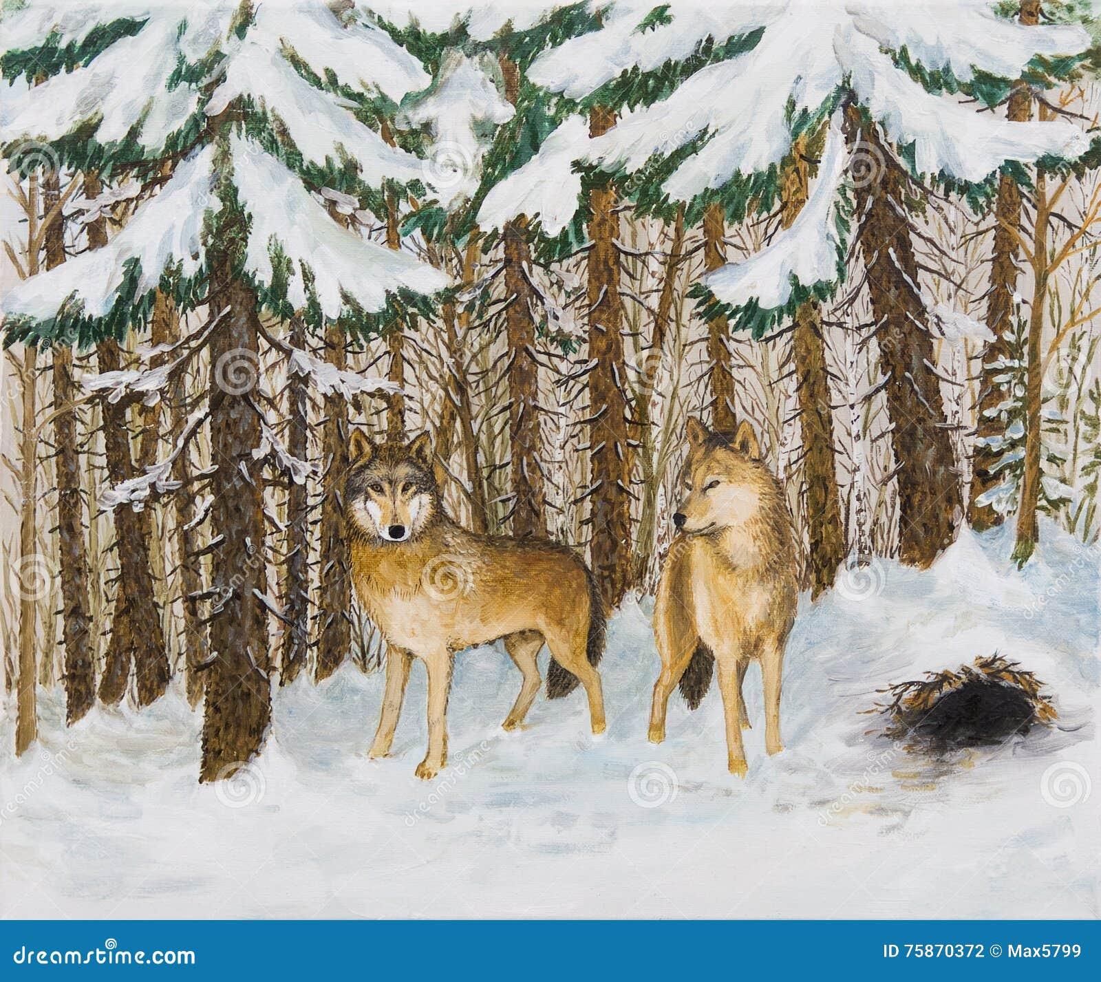 Ελαιογραφία - λύκοι το δασικό, ρωσικό χειμώνα πεύκων