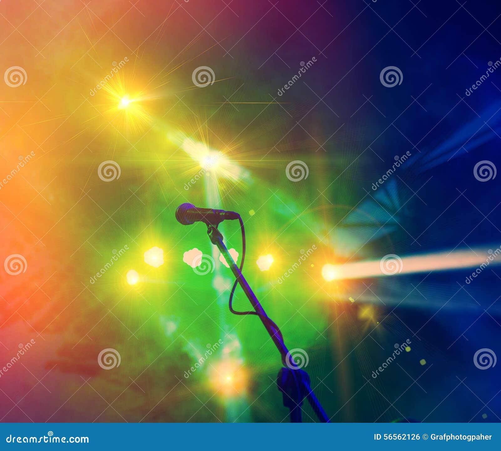 Download Ελαφρύς εμφανίστε στοκ εικόνες. εικόνα από μικρόφωνο - 56562126