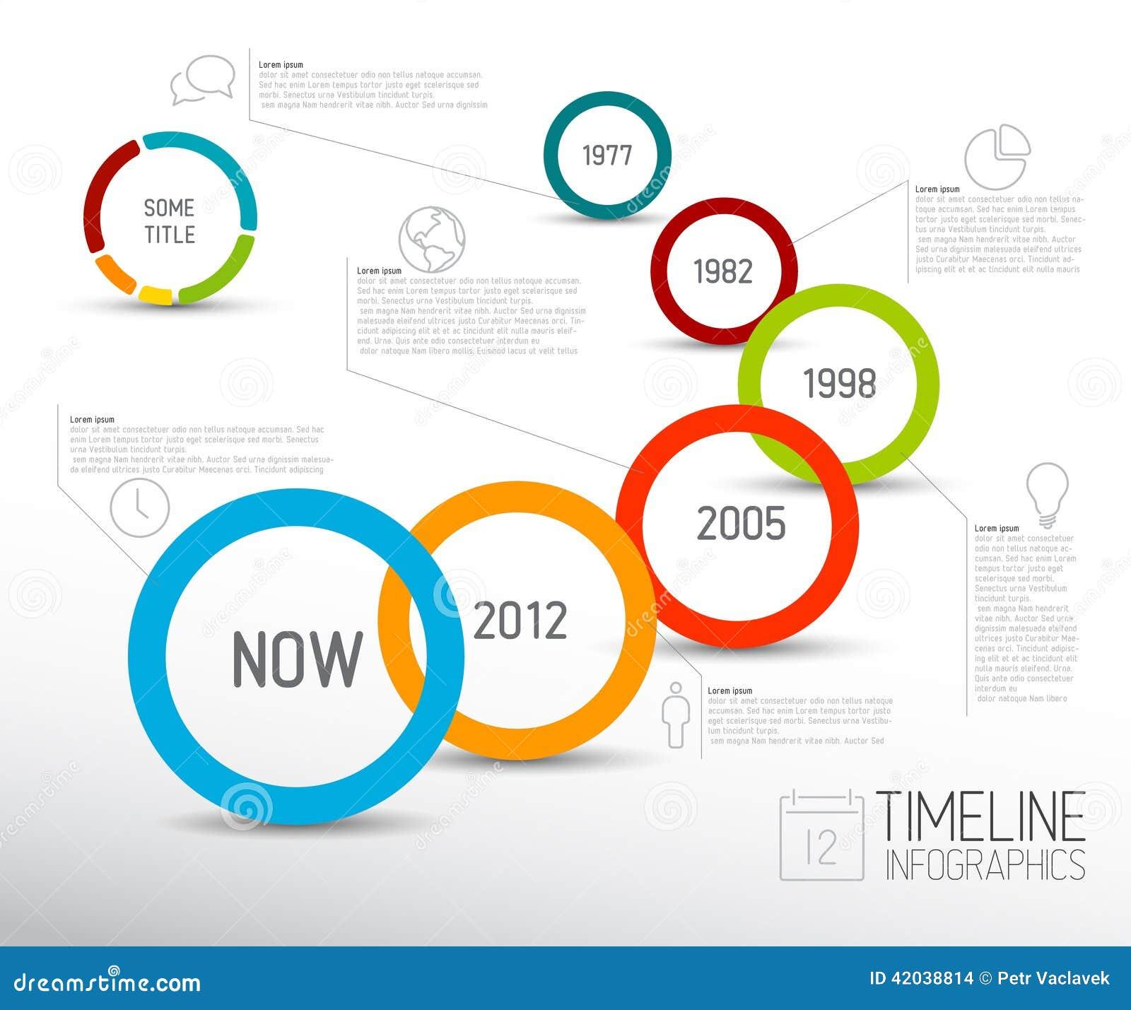 Ελαφρύ πρότυπο εκθέσεων υπόδειξης ως προς το χρόνο Infographic με τους κύκλους