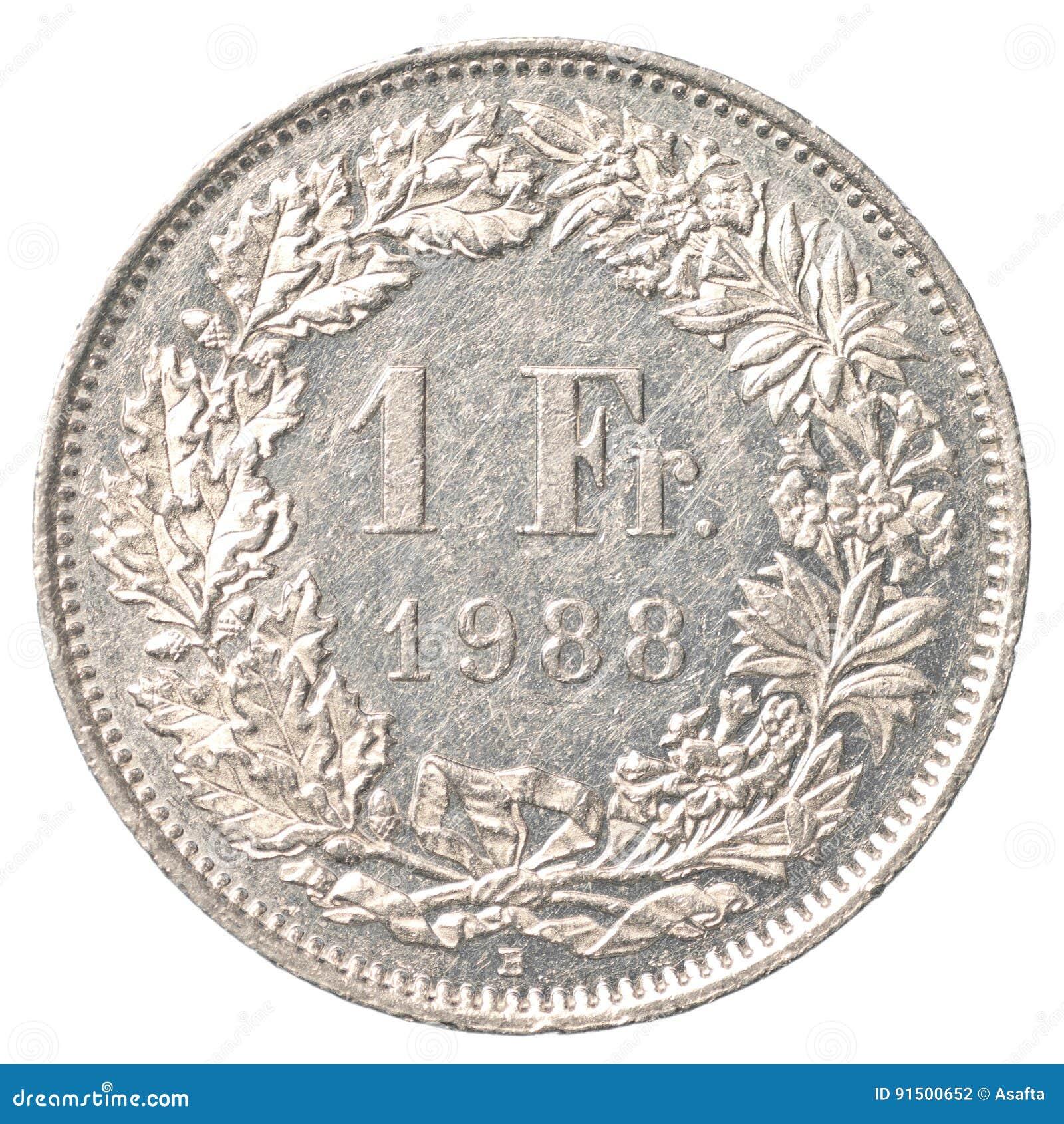 1 ελβετικό νόμισμα φράγκων