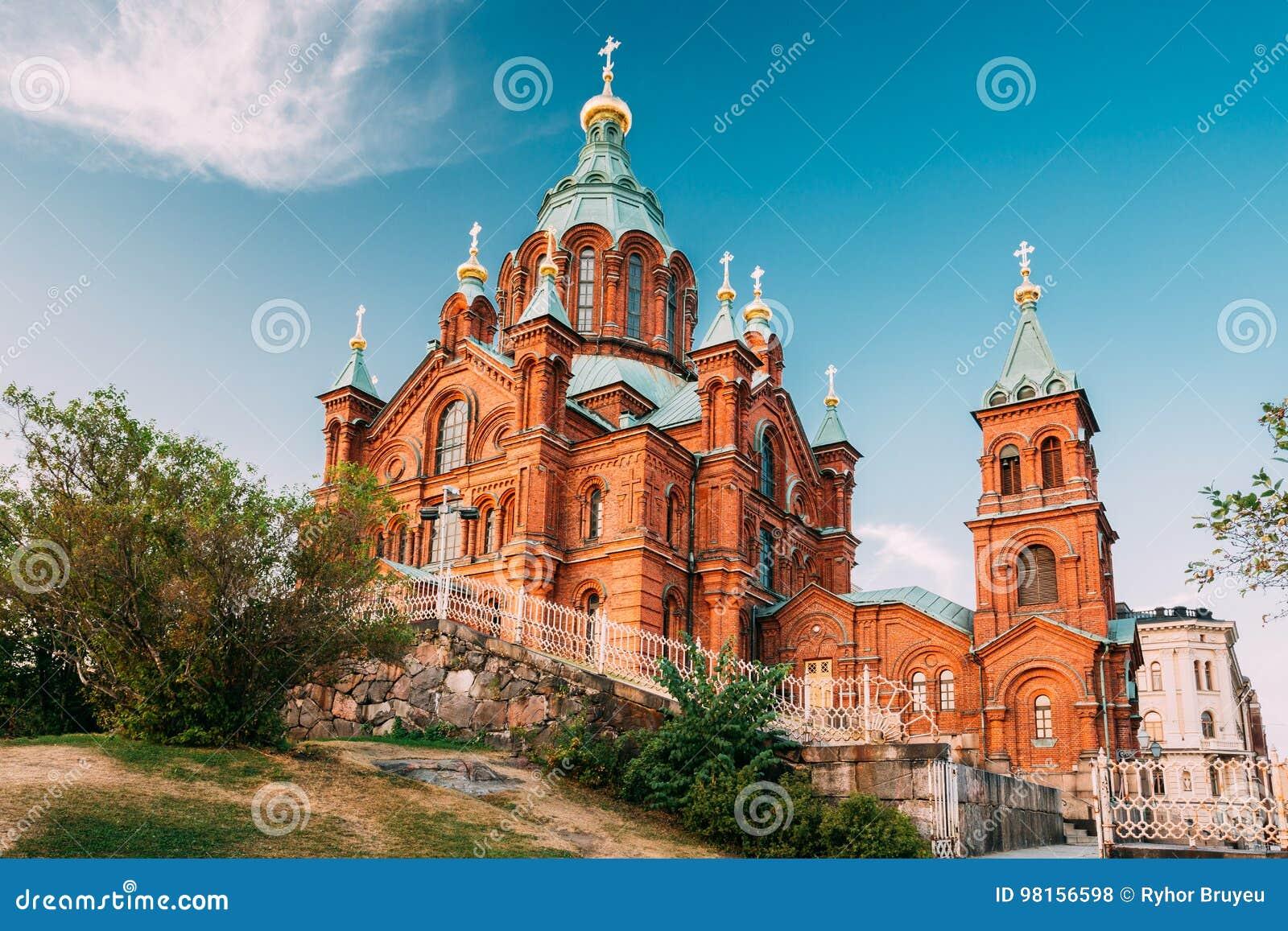 Ελσίνκι, Φινλανδία Ορθόδοξος καθεδρικός ναός Uspenski επάνω στη βουνοπλαγιά στη χερσόνησο Katajanokka που αγνοεί την πόλη