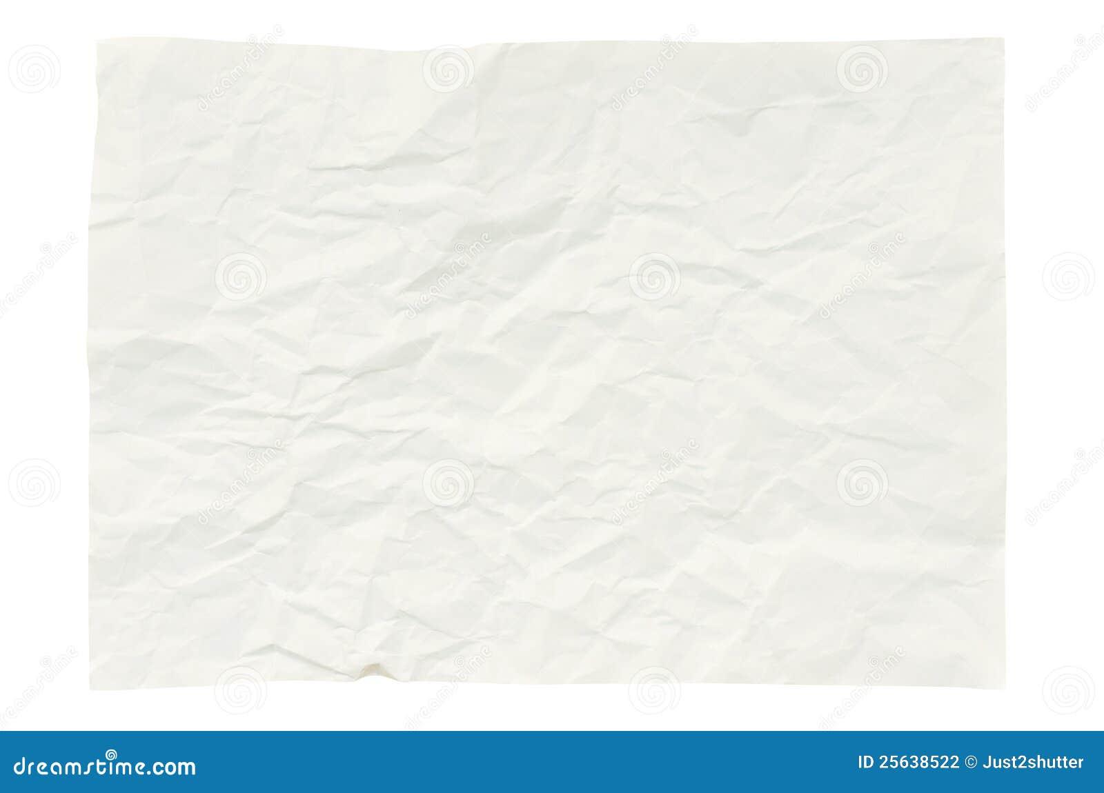 Ζαρωμένο έγγραφο που απομονώνεται στο λευκό