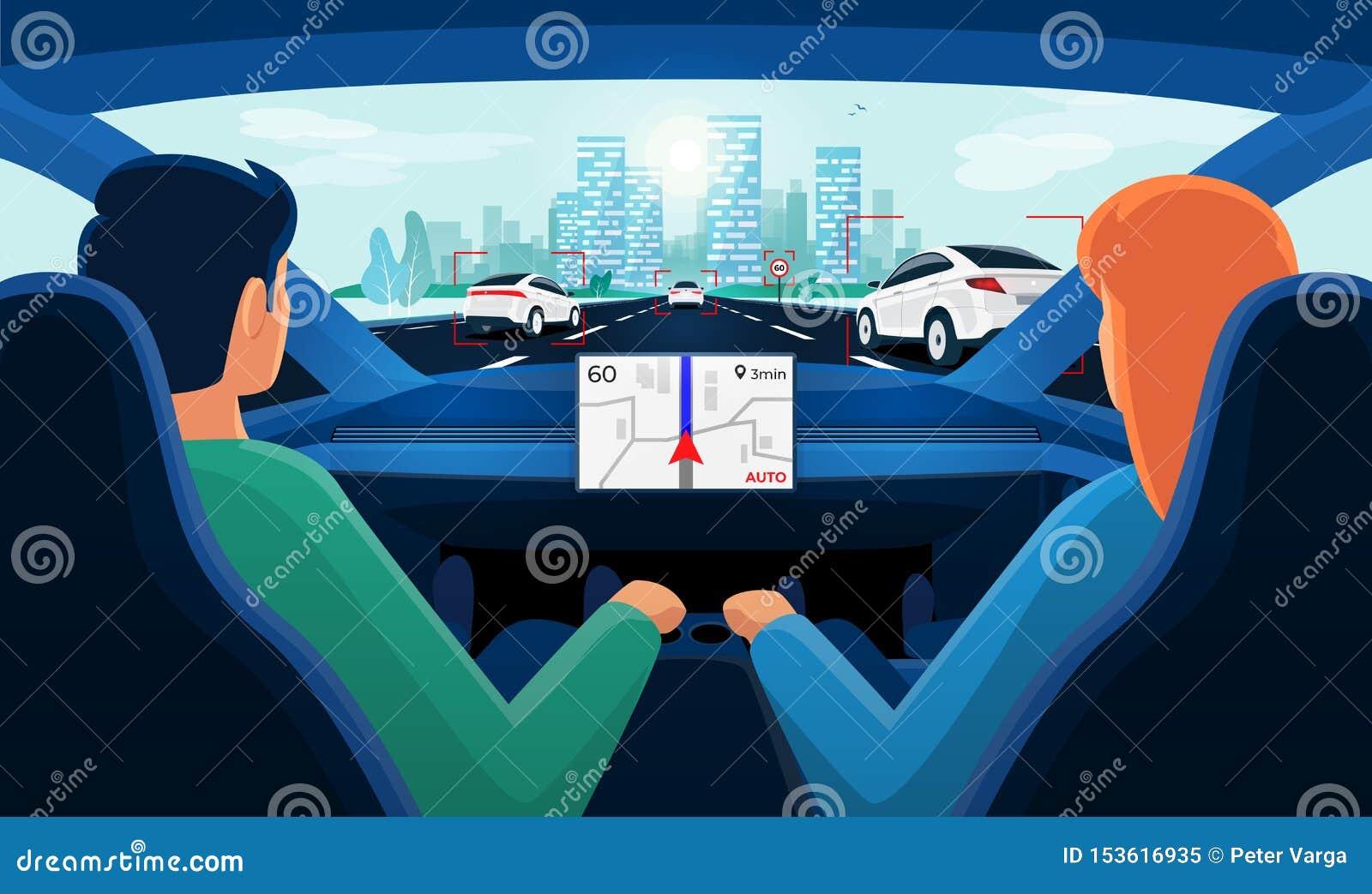 Ζεύγος μέσα στο αυτόνομο εσωτερικό αυτοκινήτων στην κυκλοφοριακή συμφόρηση εθνικών οδών με τον ορίζοντα πόλεων ημέρας