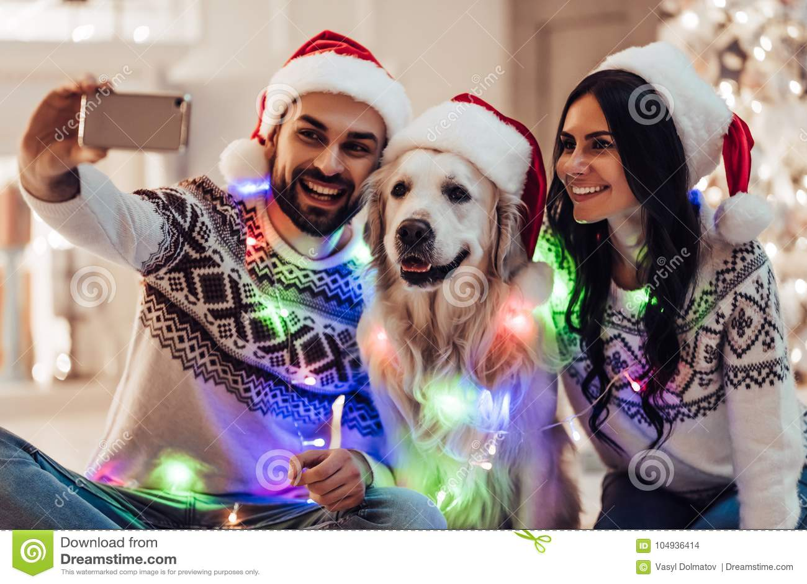 Ζεύγος με το σκυλί στη νέα παραμονή έτους ` s