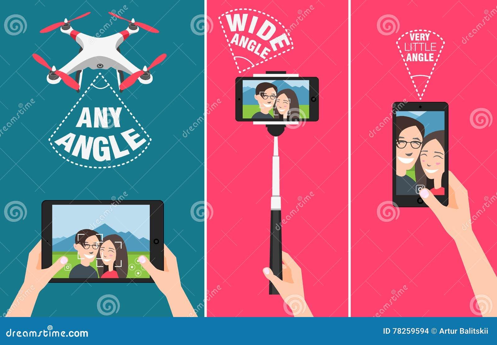 Ζεύγος που κάνει selfie με τον κηφήνα, το ραβδί και τη χρησιμοποίηση των χεριών που παρουσιάζουν διαφορετικές δυνατότητες γωνιών