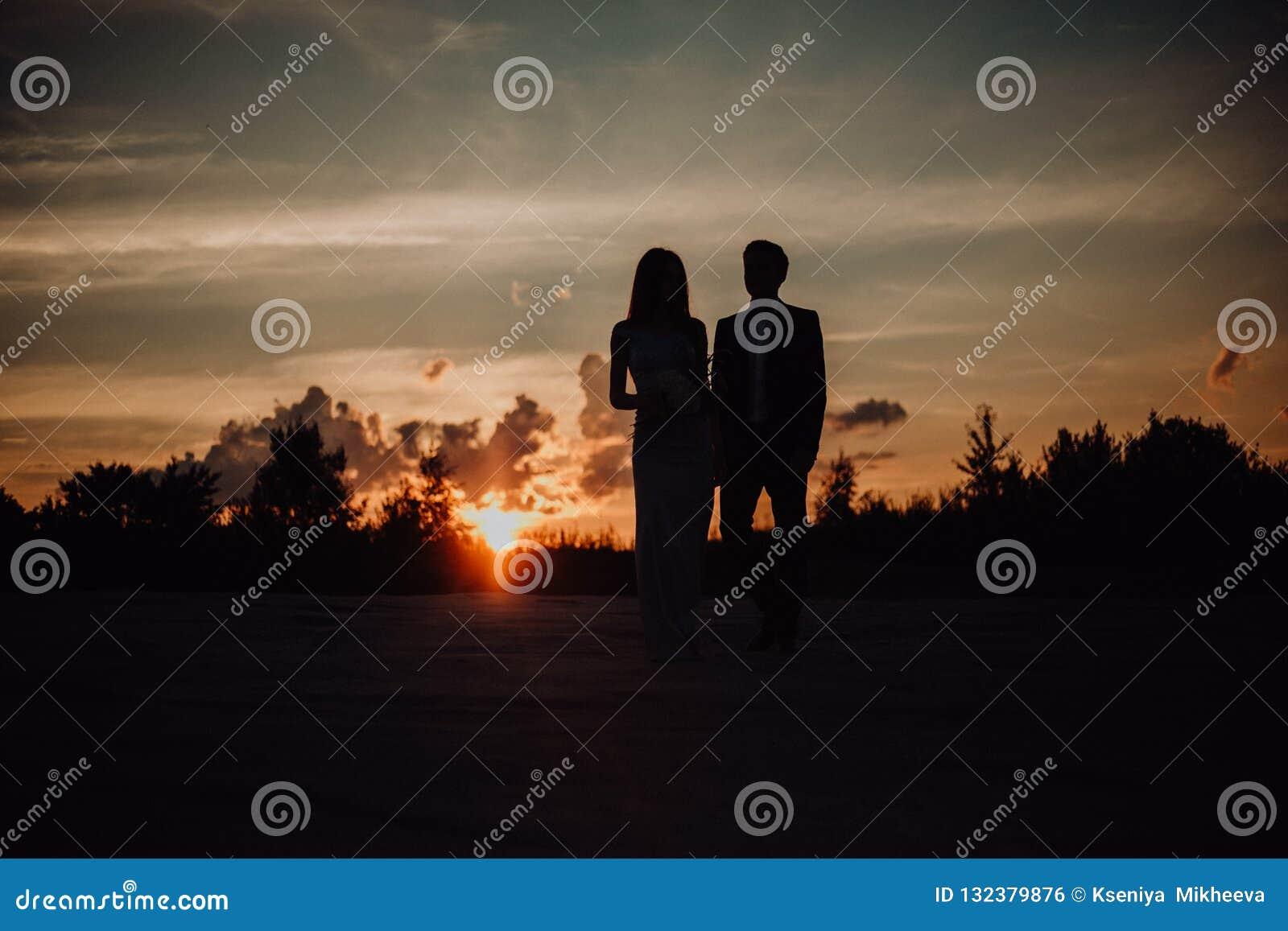 ζεύγος σκιαγραφιών του προκλητικού κοριτσιού φιλιών τύπων στην άμμο στο κλασικό φόρεμα δέντρα και ουρανός στο υπόβαθρο