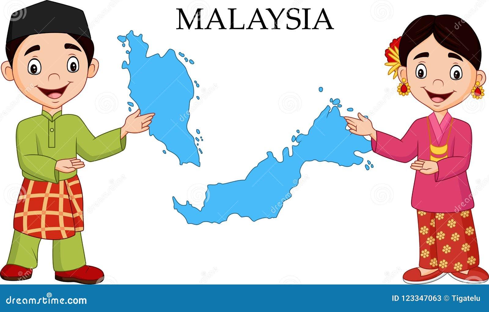 Ζεύγος της Μαλαισίας κινούμενων σχεδίων που φορά το παραδοσιακό κοστούμι