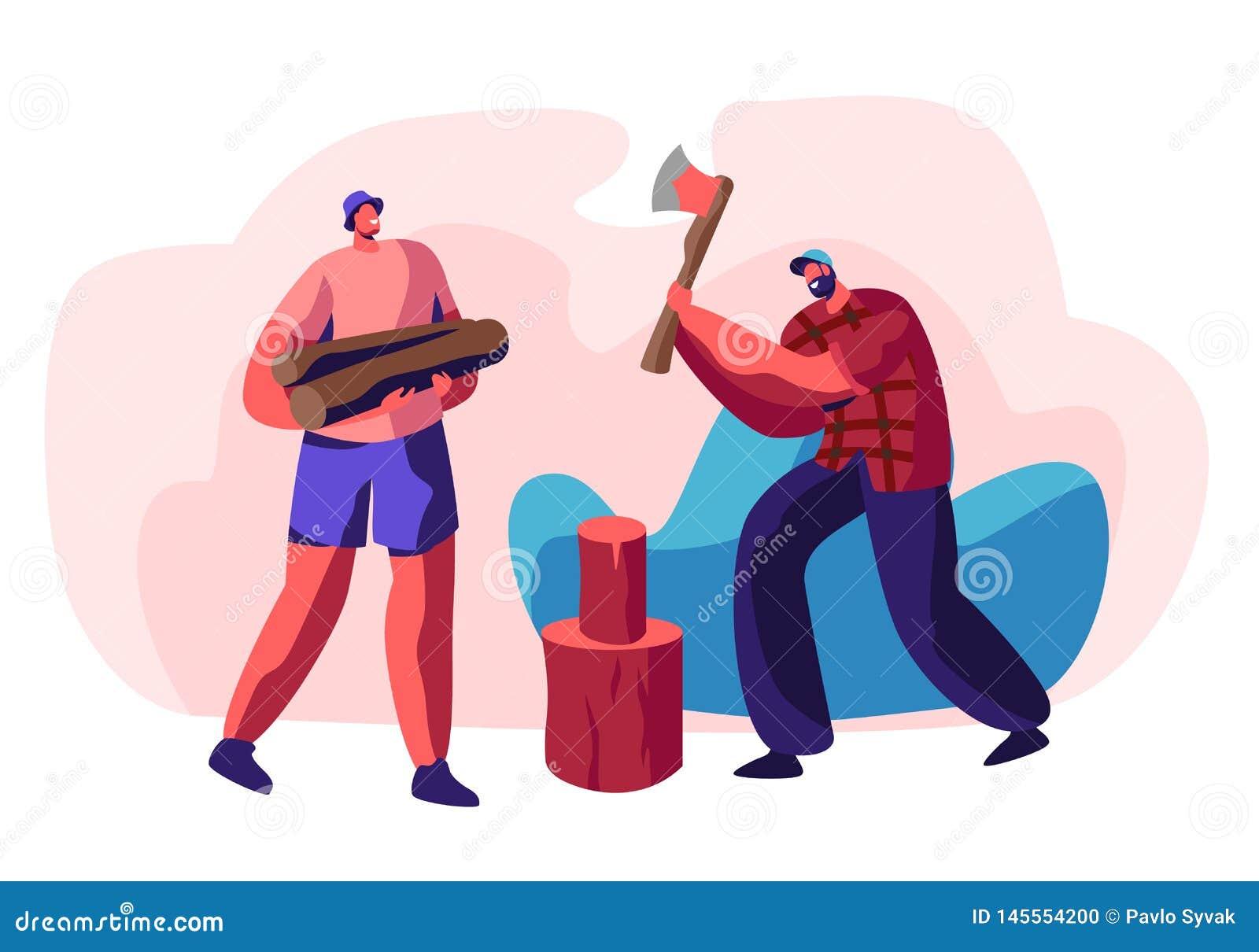 Ζεύγος των νεαρών άνδρων που τεμαχίζουν το ξύλο Γενειοφόρος τύπος με το τσεκούρι στα χέρια που προσπαθούν να κόψει το κούτσουρο,