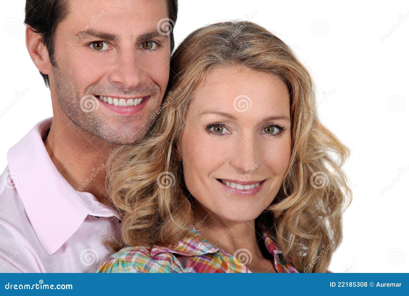 ζεύγος headshot που χαμογελά